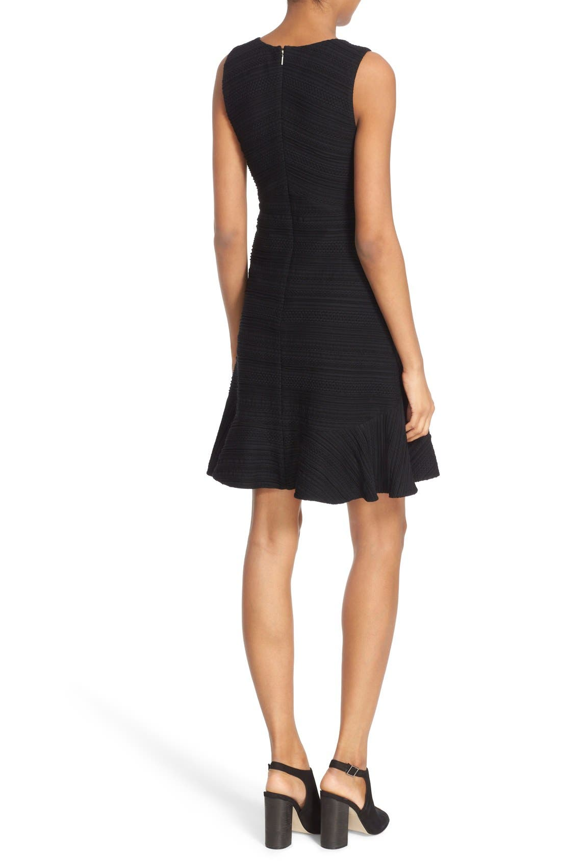 REBECCA TAYLOR, Sleeveless V-Neck Texture Knit Fit & Flare Dress, Alternate thumbnail 3, color, 001