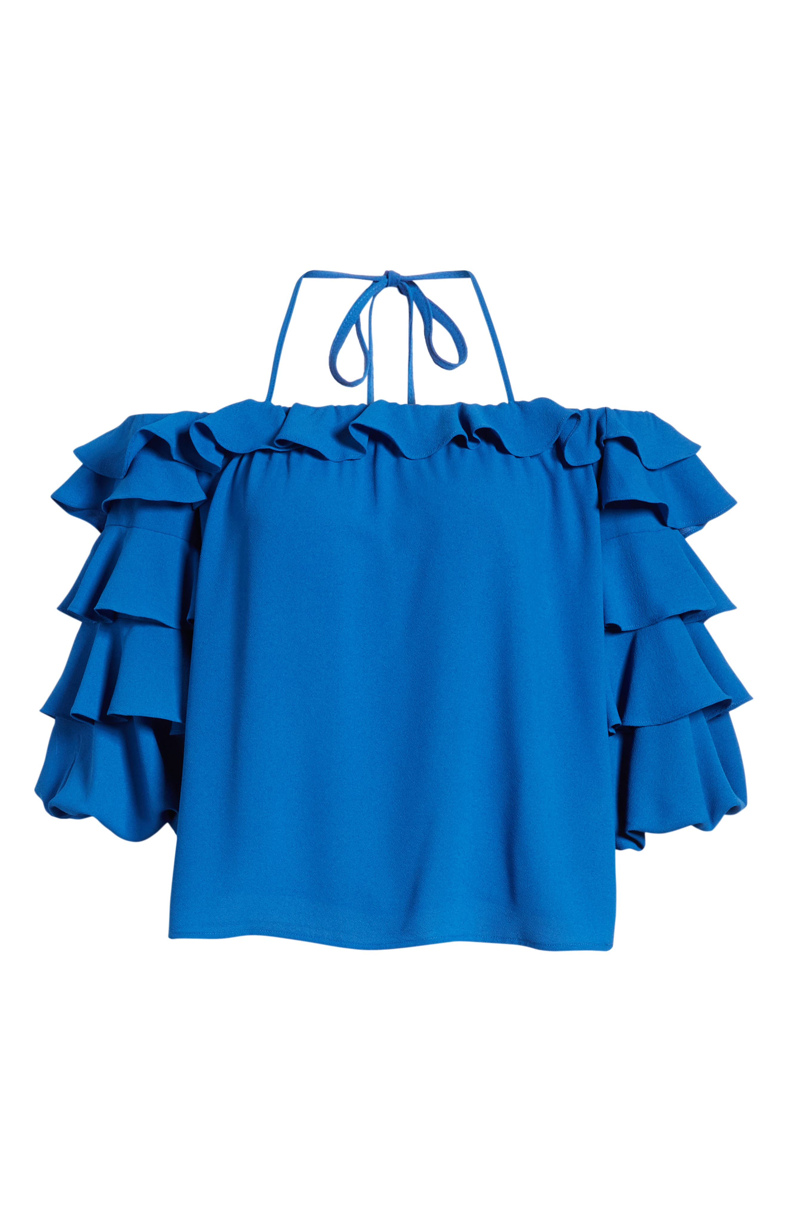 1.STATE, Tiered Ruffle Sleeve Blouse, Alternate thumbnail 6, color, 400