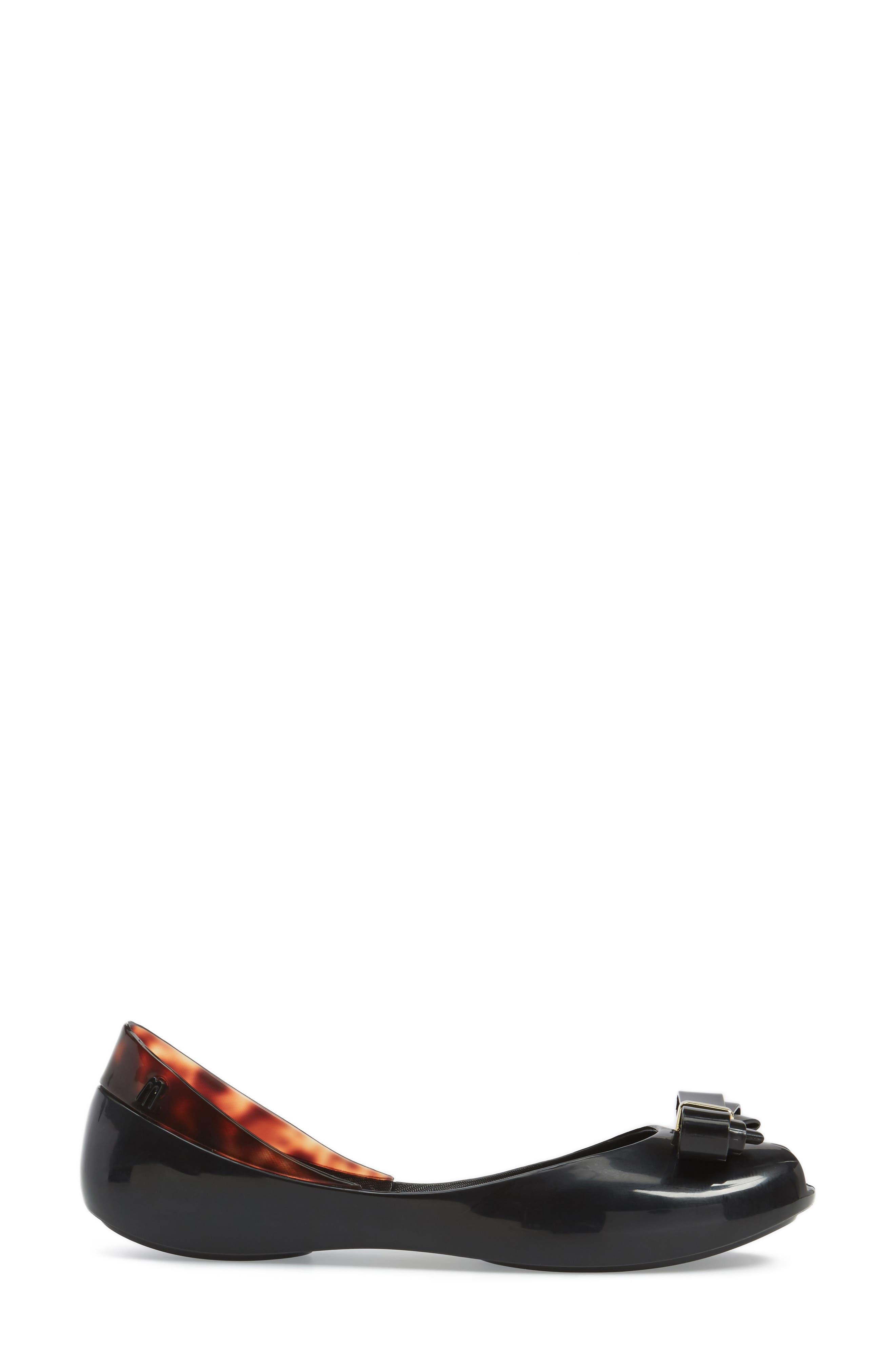 MELISSA, Queen VI Peep Toe Flat, Alternate thumbnail 3, color, 001