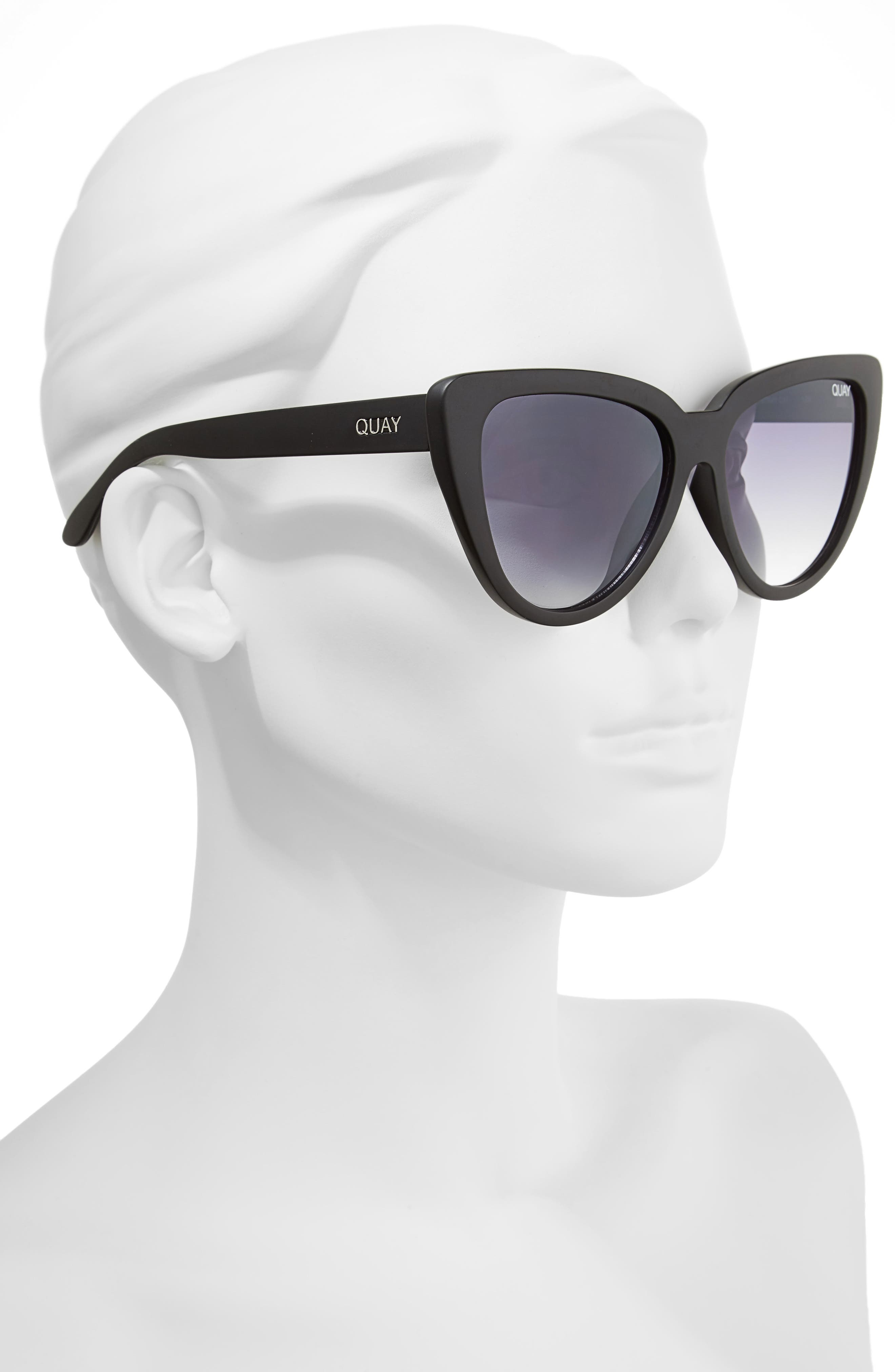 QUAY AUSTRALIA, Stray Cat 58mm Mirrored Cat Eye Sunglasses, Alternate thumbnail 2, color, 001