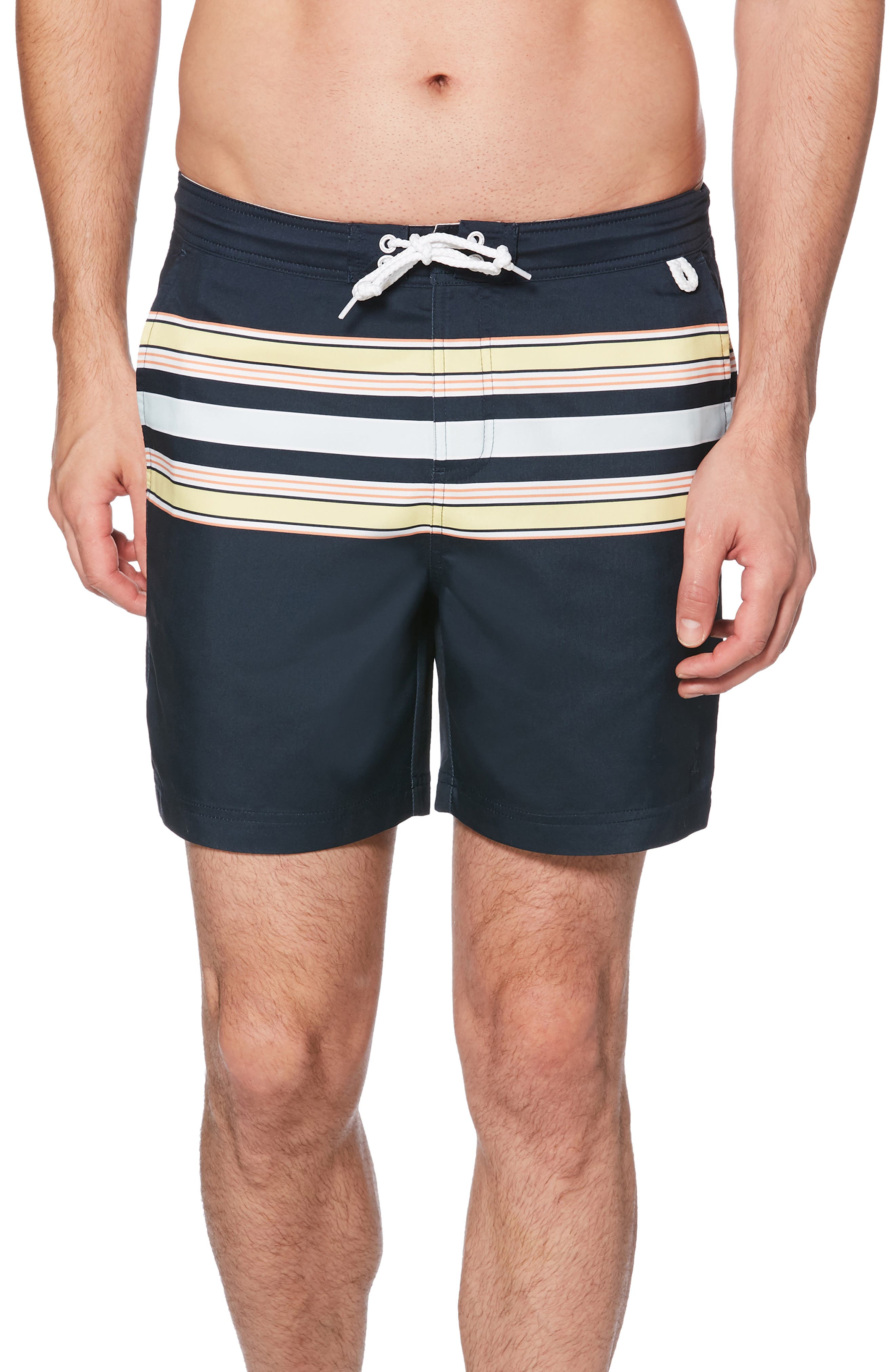 ORIGINAL PENGUIN, Retro Stripe Swim Trunks, Main thumbnail 1, color, DARK SAPPHIRE
