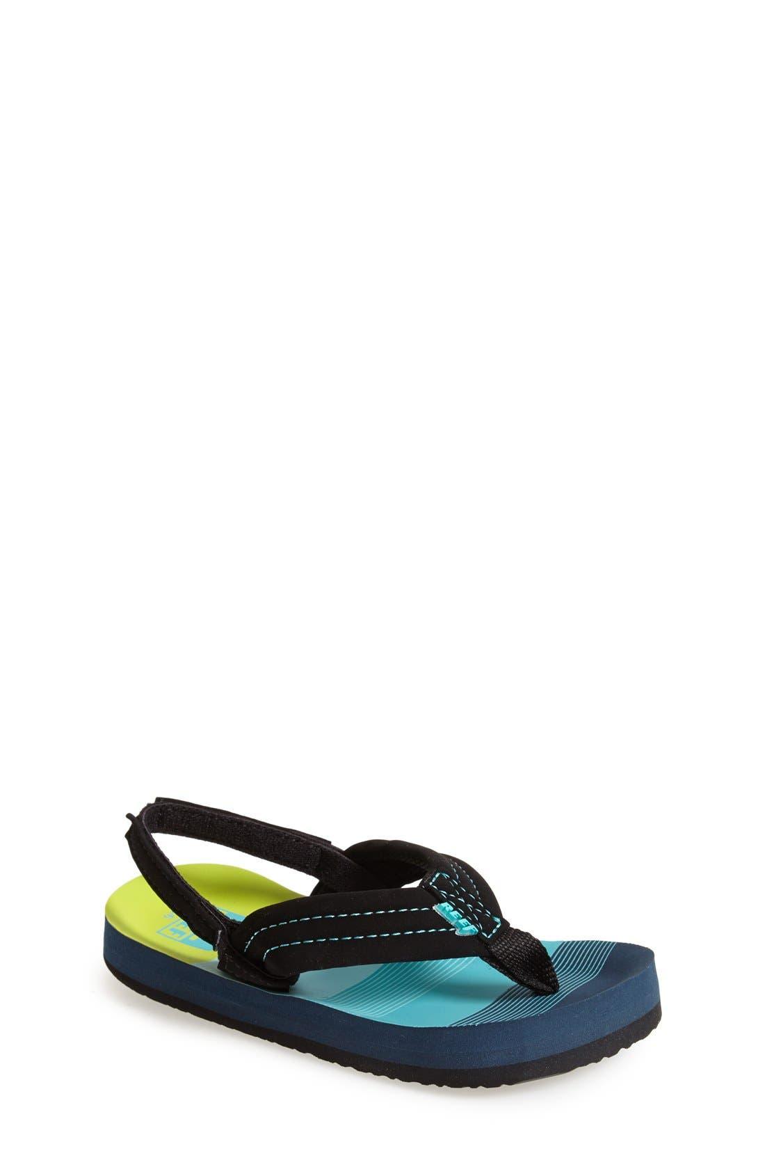 REEF, 'Ahi - Stripes' Sandal, Main thumbnail 1, color, AQUA/ GREEN