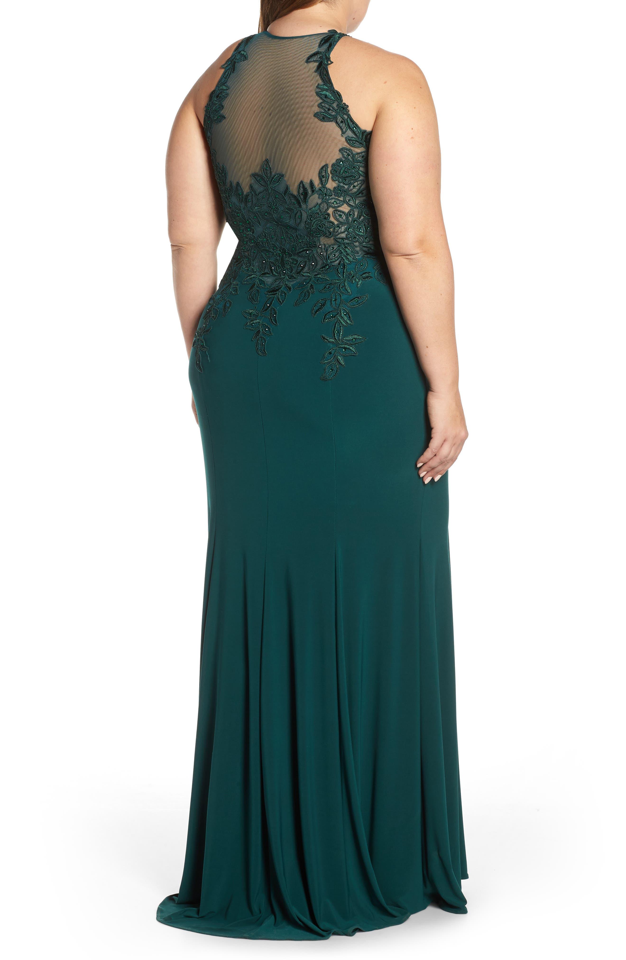 XSCAPE, Embroidered Slit Dress, Alternate thumbnail 2, color, HUNTER