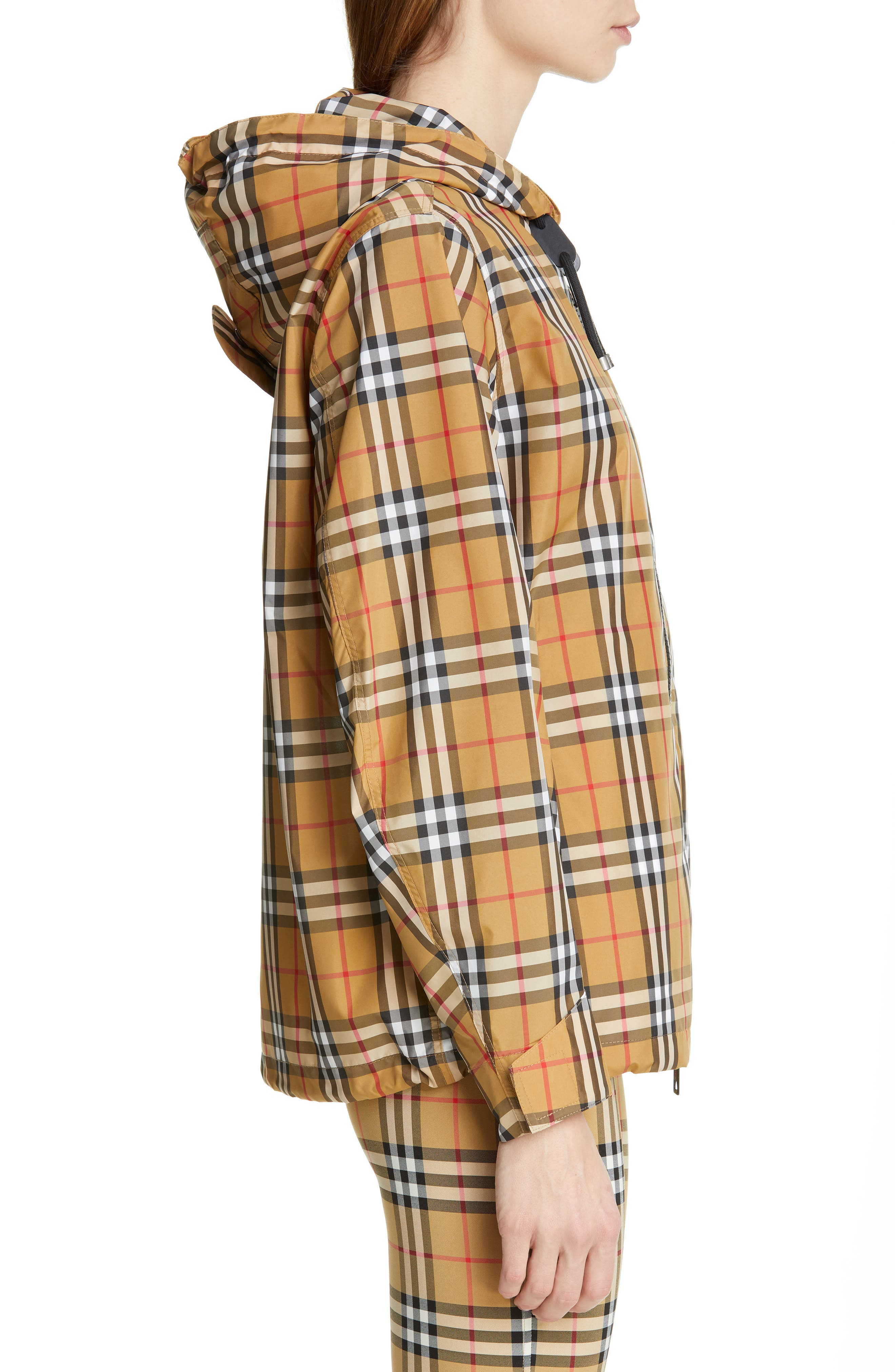 BURBERRY, Winchester Vintage Check Hooded Rain Jacket, Alternate thumbnail 4, color, ANTIQUE YEL IP CHK