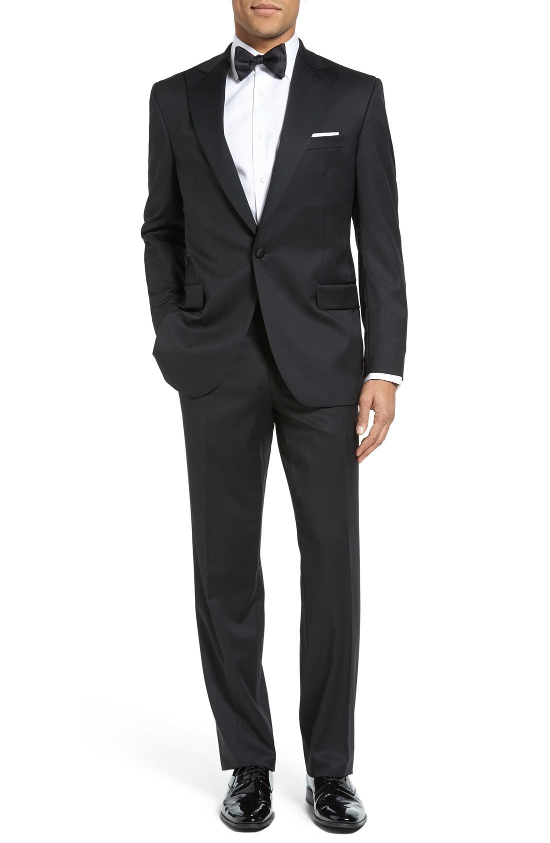 DAVID DONAHUE, Russell Classic Fit Loro Piana Wool Tuxedo, Main thumbnail 1, color, BLACK