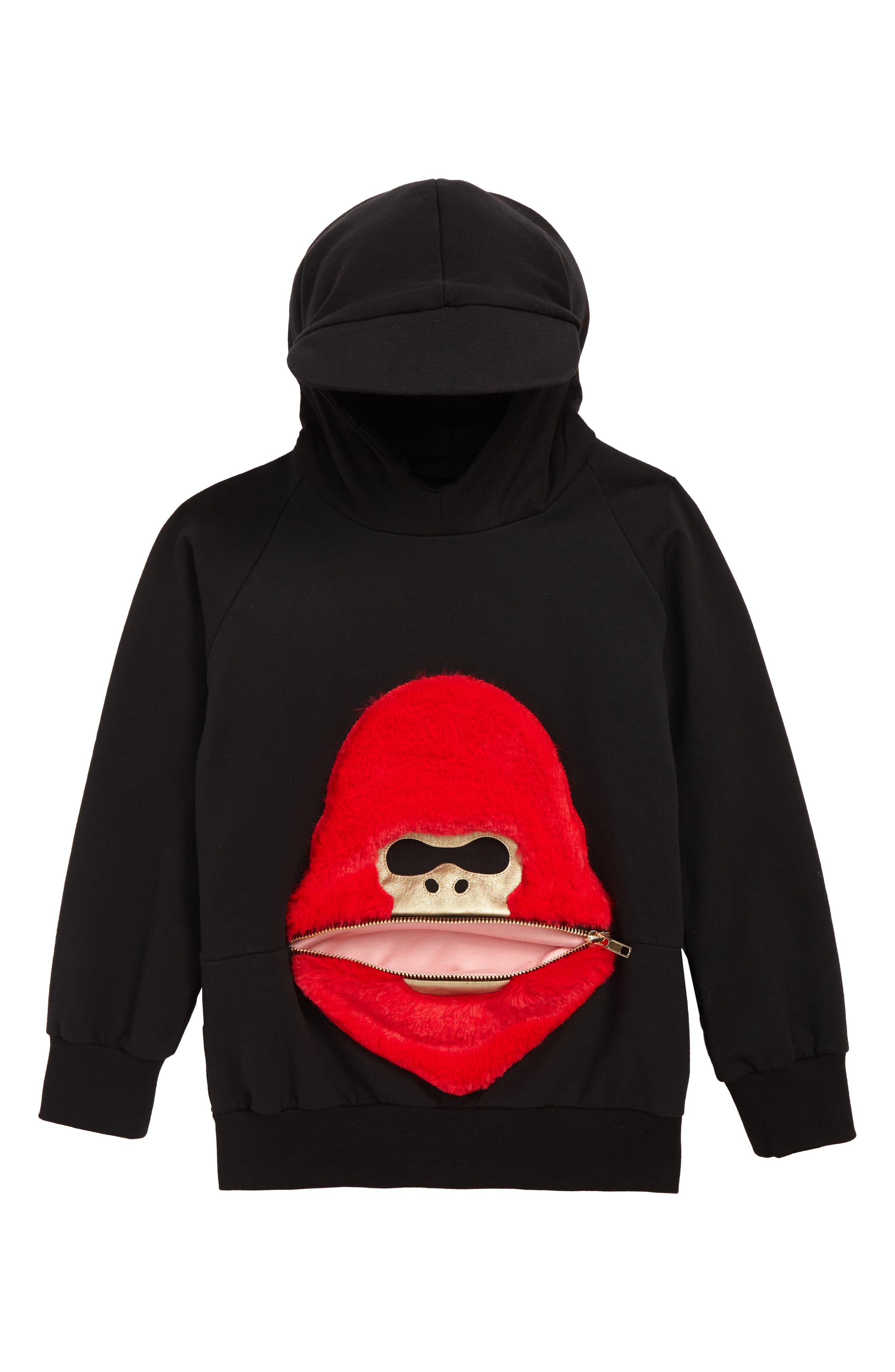 BANGBANG COPENHAGEN, Vicious Viggo Hooded Sweatshirt, Main thumbnail 1, color, BLACK