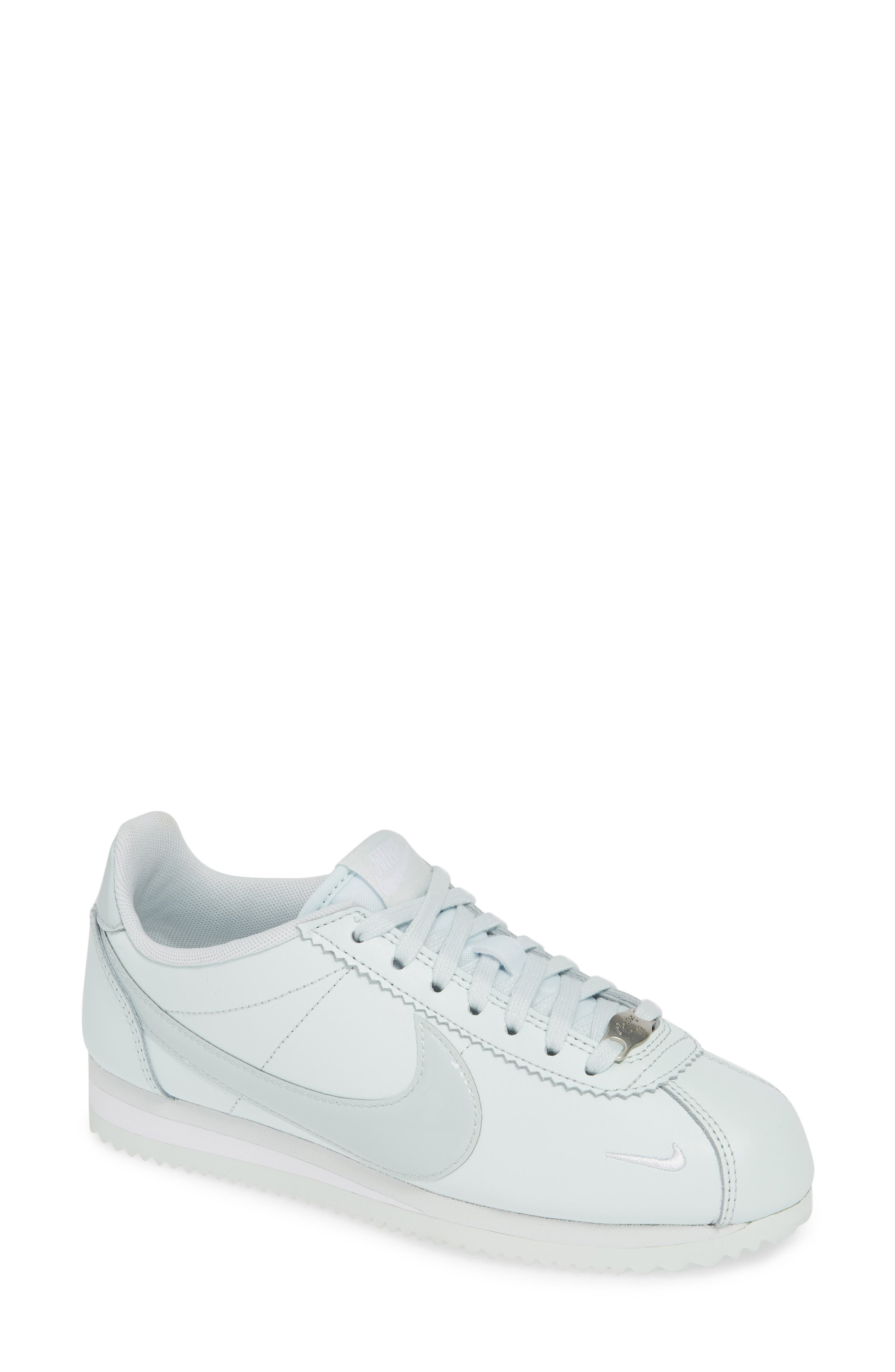 NIKE, Classic Cortez Premium XLV Sneaker, Main thumbnail 1, color, BARELY GREY/ WHITE