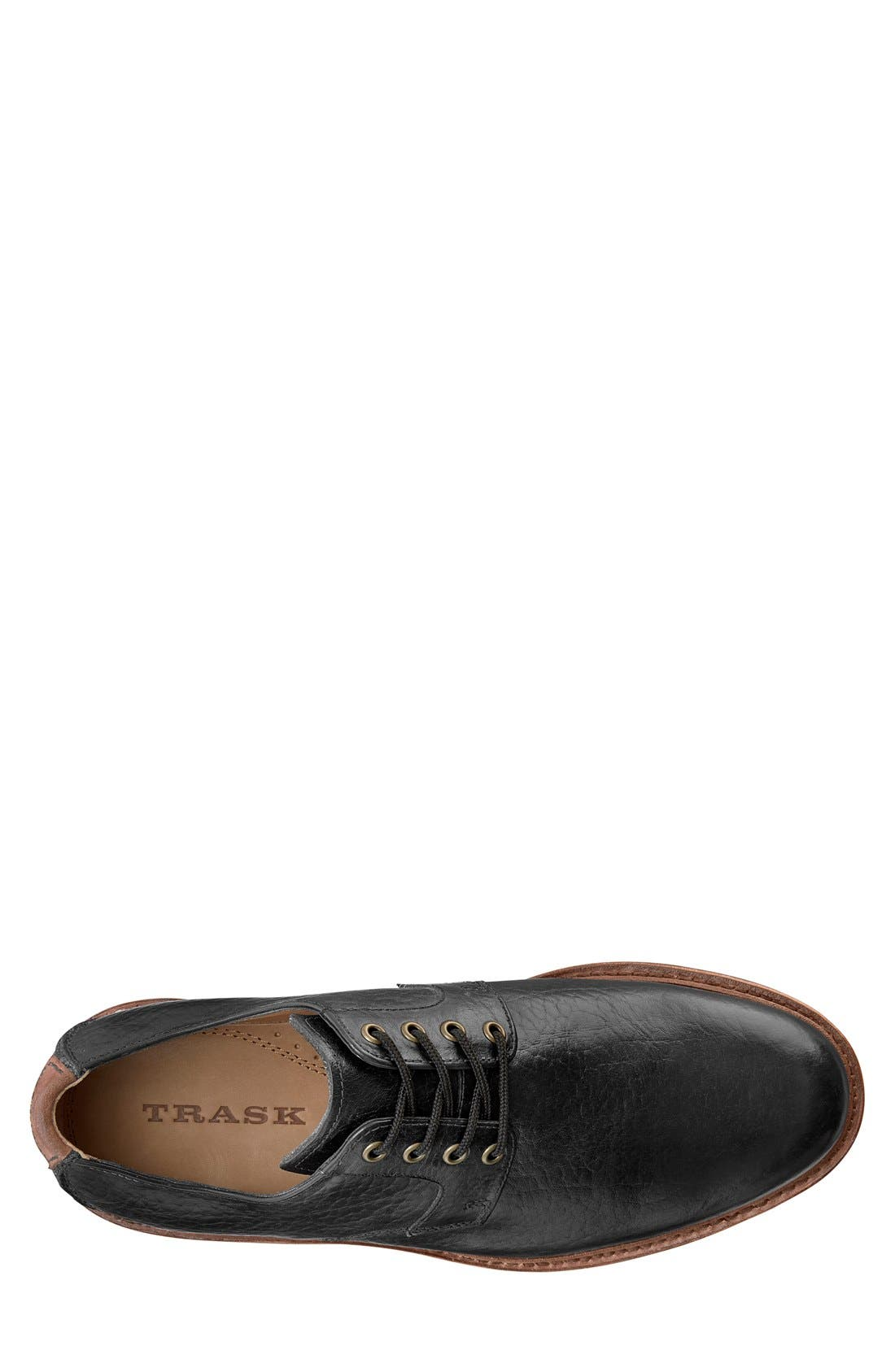 TRASK, 'Gallatin II' Oxford, Alternate thumbnail 3, color, BLACK LEATHER