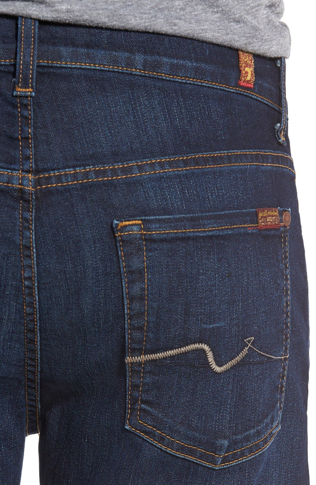 7 FOR ALL MANKIND<SUP>®</SUP>, The Straight Airweft Slim Straight Leg Jeans, Alternate thumbnail 7, color, 400