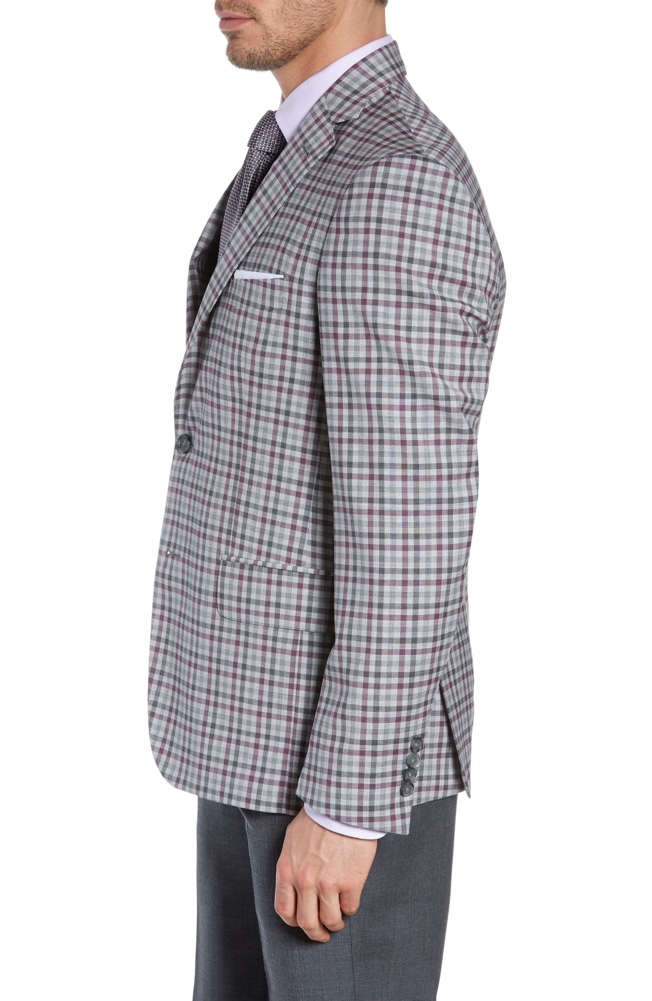 JOHN W. NORDSTROM<SUP>®</SUP>, Traditional Fit Check Sport Coat, Alternate thumbnail 3, color, GREY ALLOY BURGUNDY PLAID