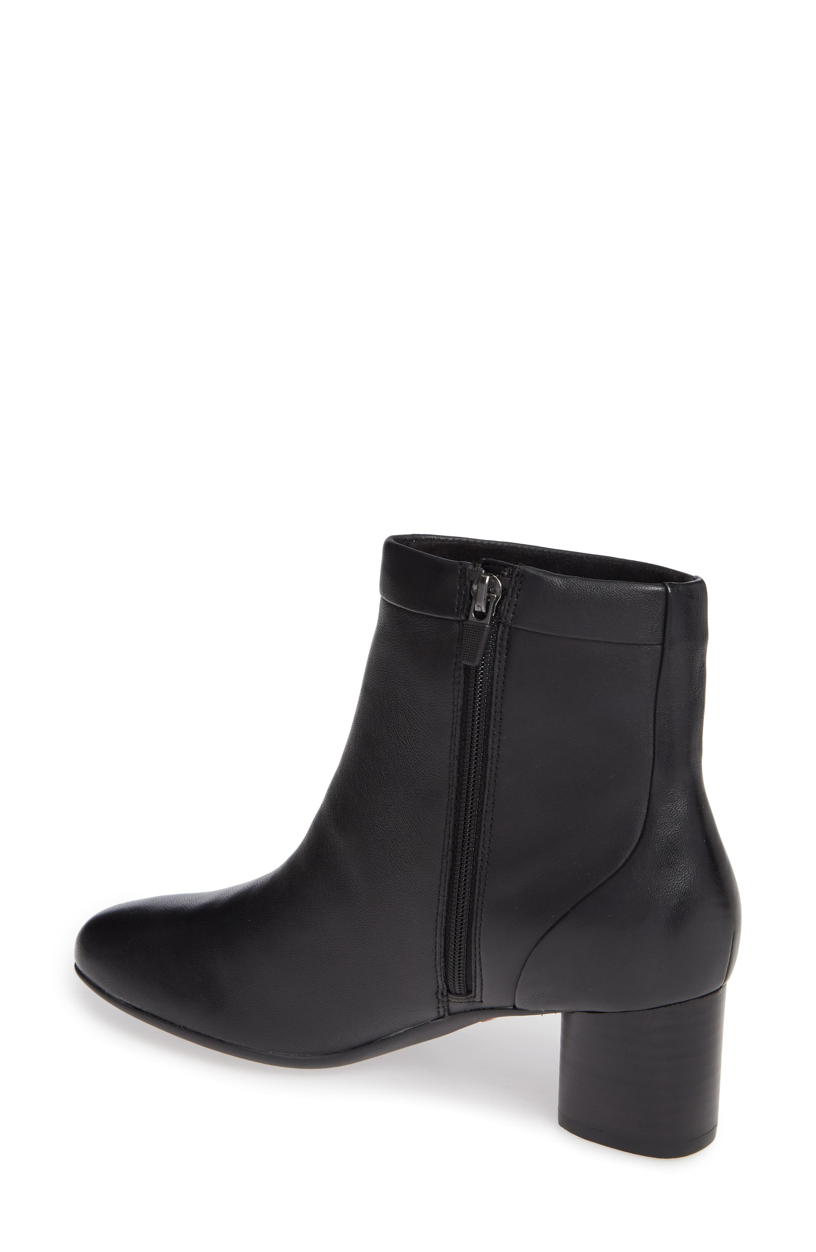 CLARKS<SUP>®</SUP>, Un Cosmo Up Bootie, Alternate thumbnail 2, color, BLACK LEATHER