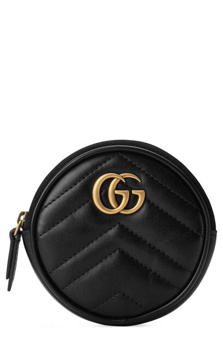 db865d7b8f56 GUCCI Marmont 2.0 Leather Coin Purse with Key Ring, Main, color, NERO/