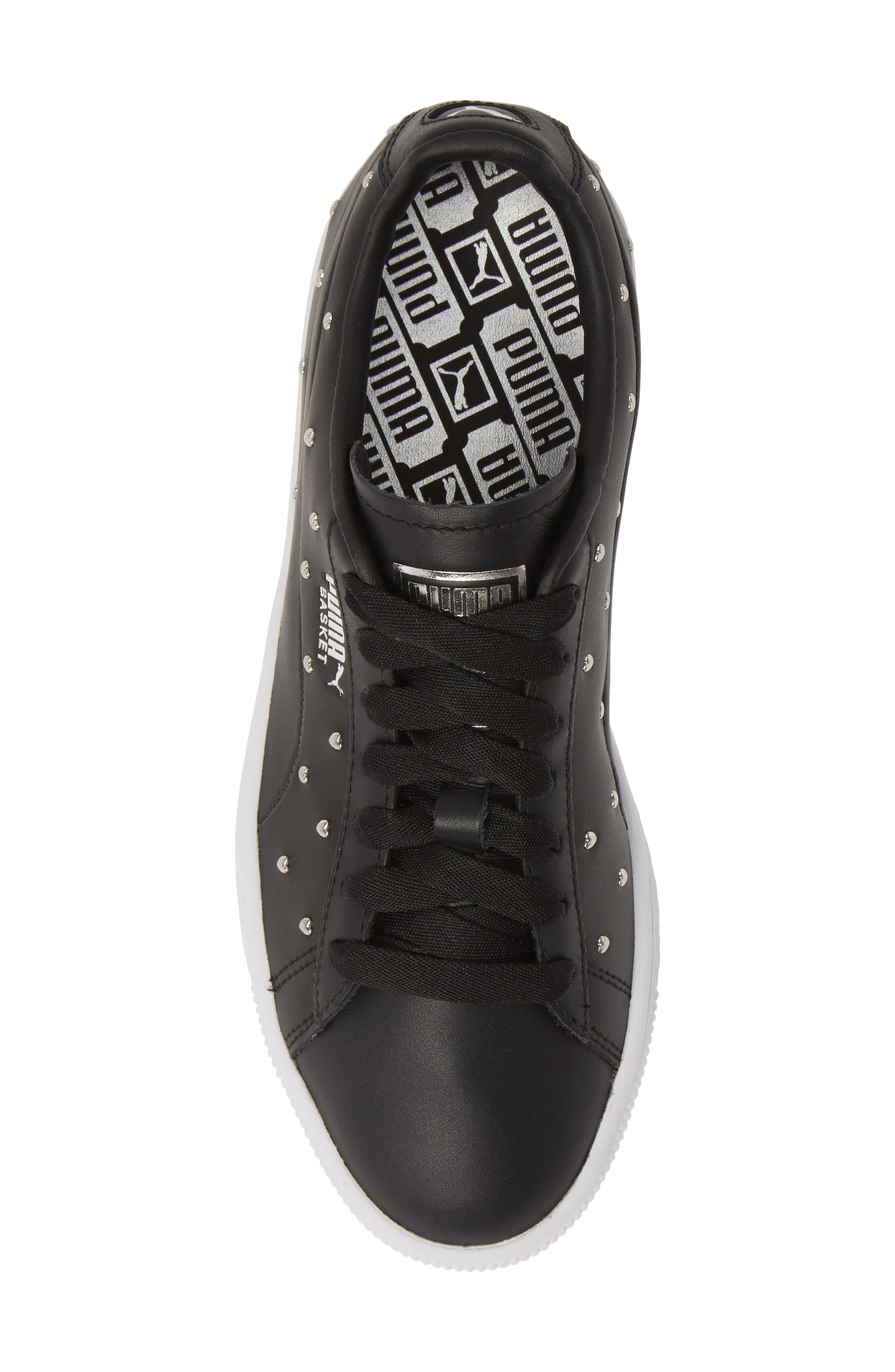 PUMA, Basket Studs Sneaker, Alternate thumbnail 5, color, BLACK/ SILVER