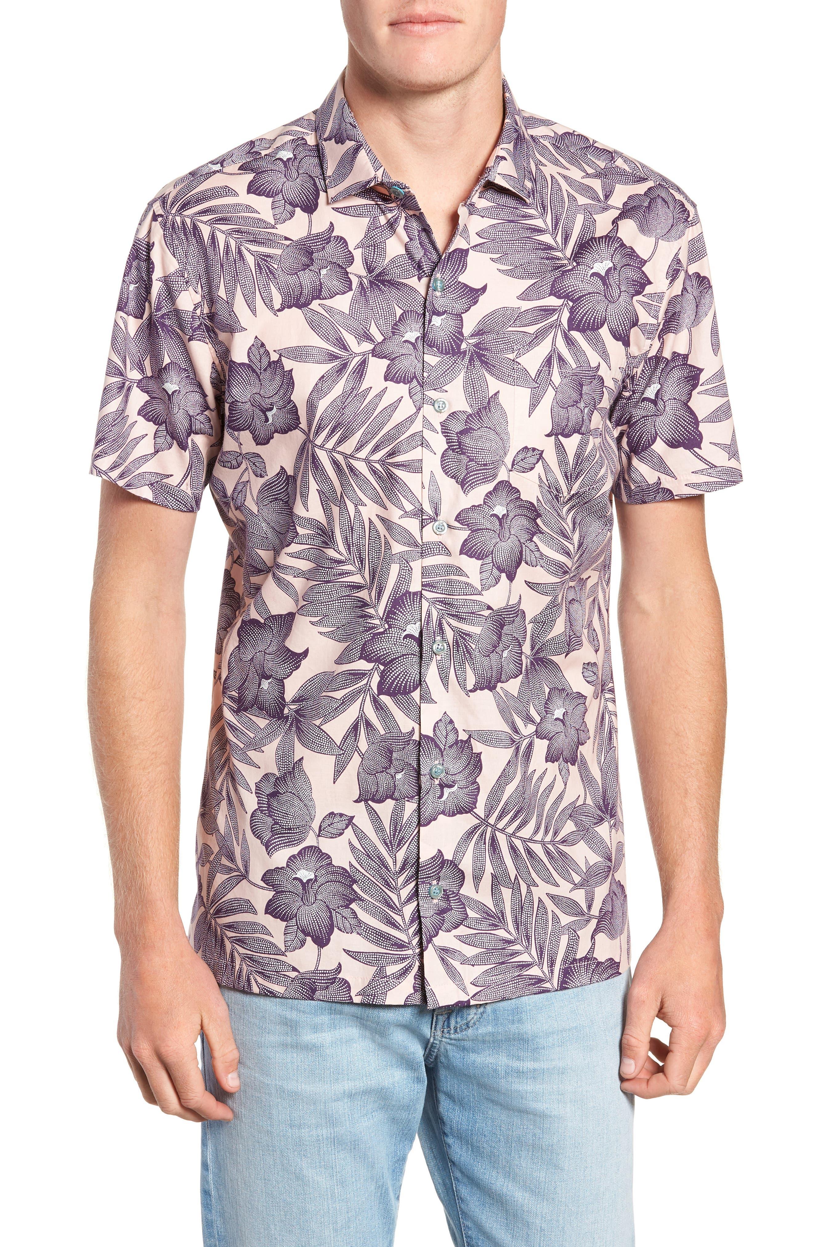 TORI RICHARD, Pollenesia Regular Fit Sport Shirt, Main thumbnail 1, color, PINK