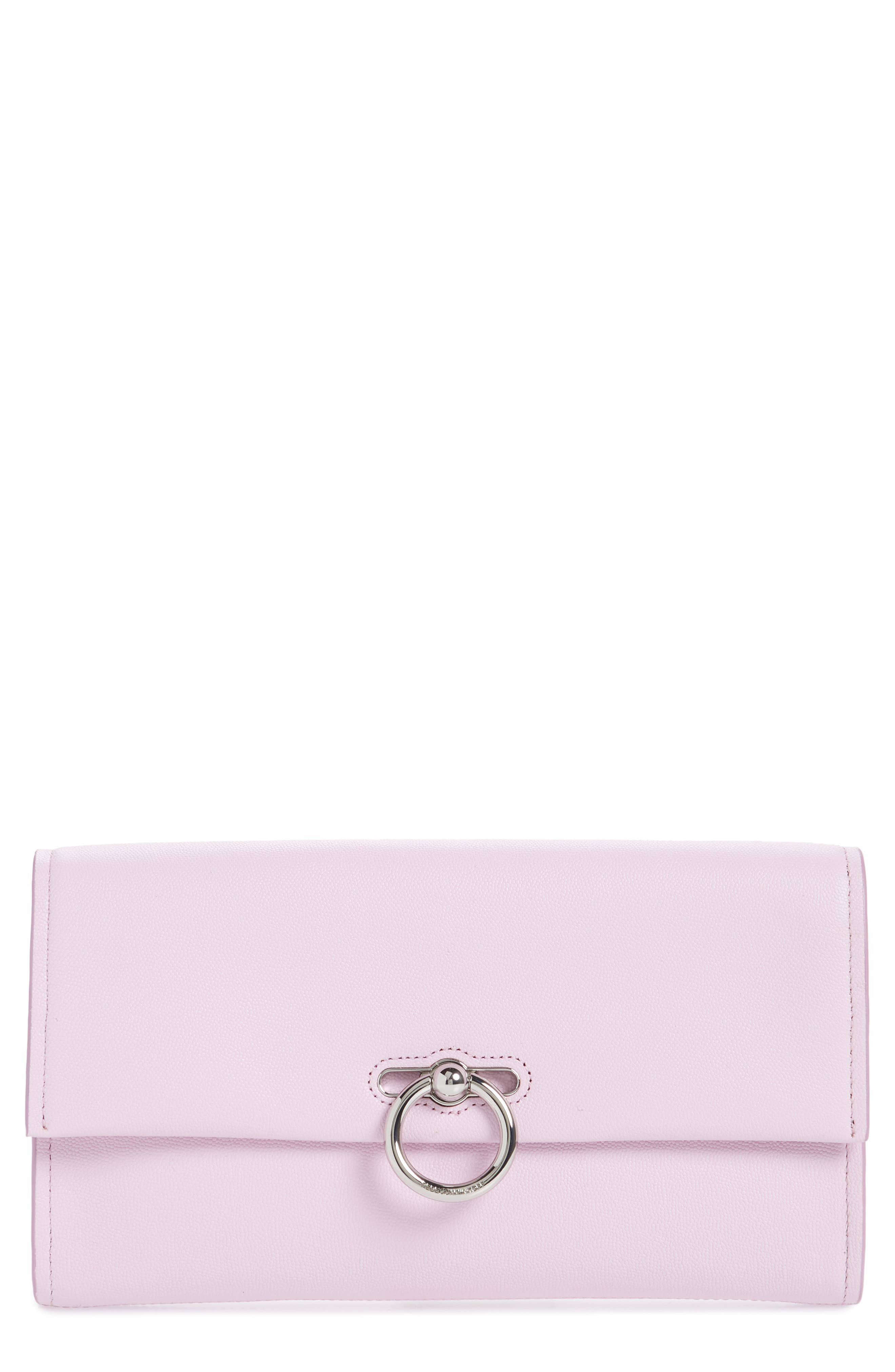 REBECCA MINKOFF, Jean Leather Clutch, Main thumbnail 1, color, LIGHT ORCHID