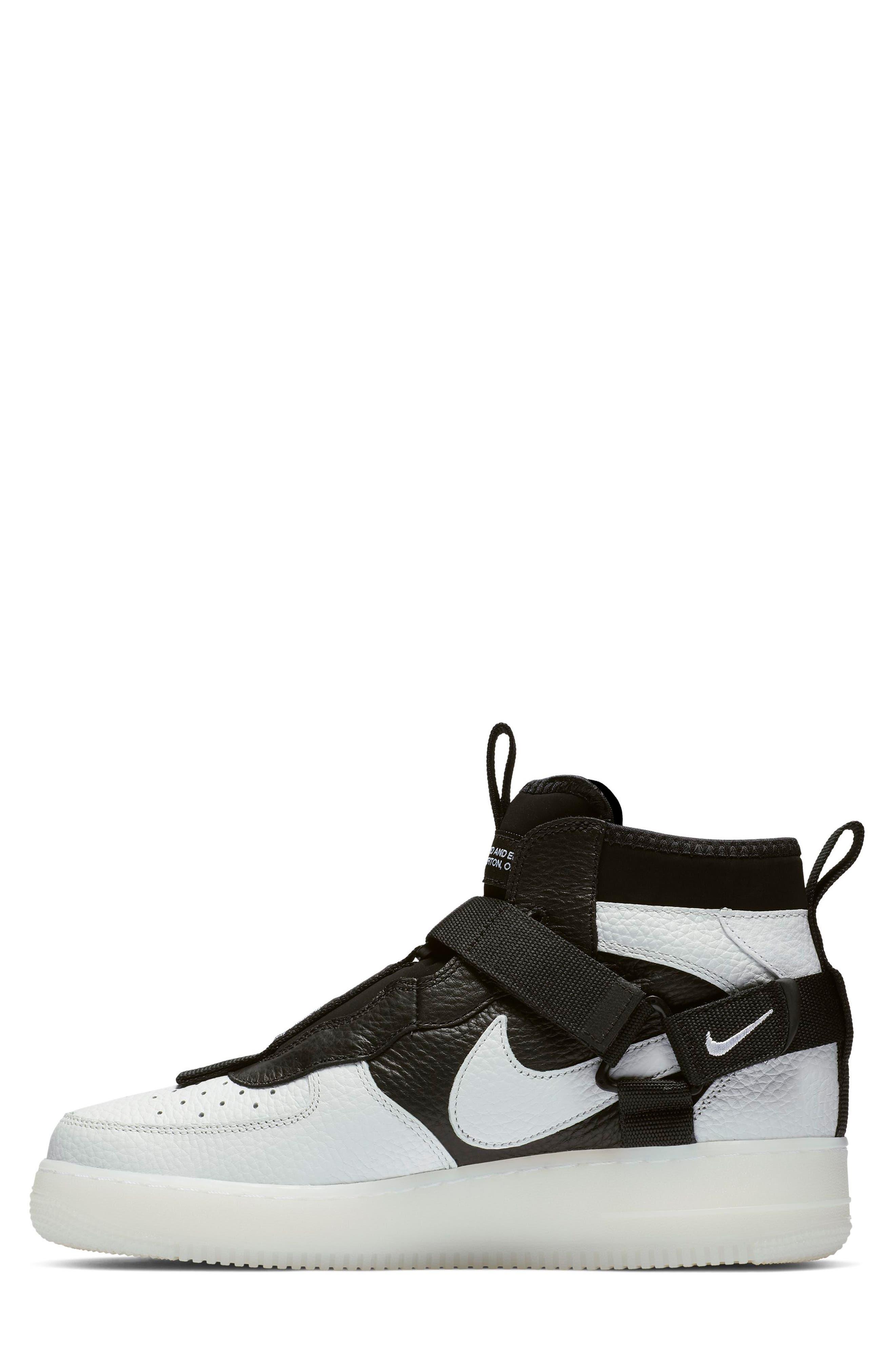 NIKE, Air Force 1 Utility Mid Sneaker, Alternate thumbnail 3, color, OFF WHITE/ BLACK/ WHITE