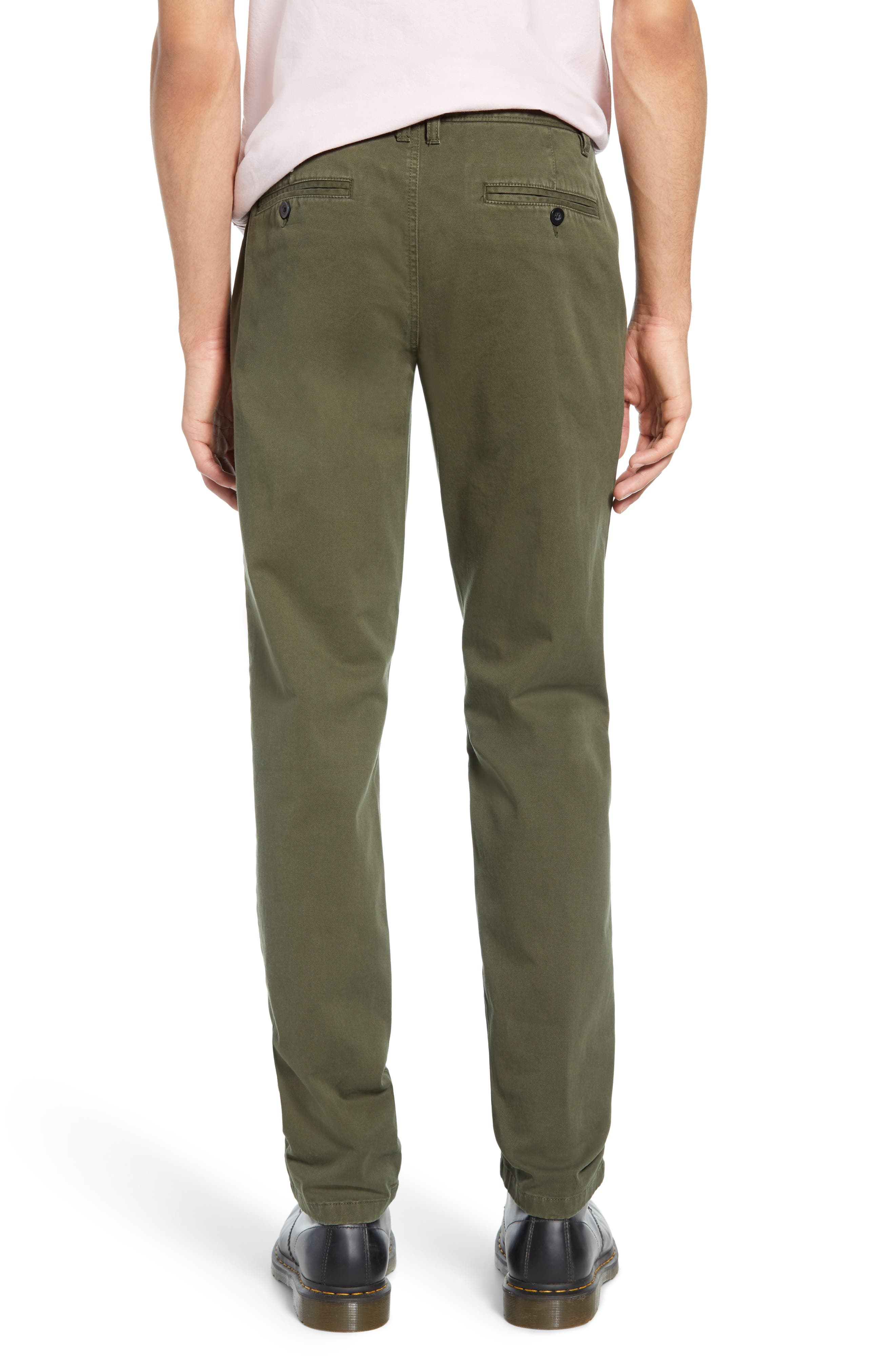 THE RAIL, Slim Fit Chinos, Alternate thumbnail 2, color, OLIVE GROVE