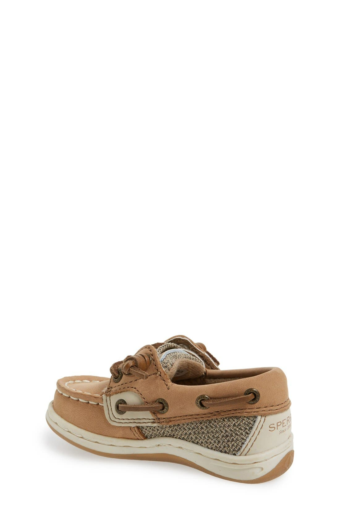 SPERRY KIDS, 'Songfish' Boat Shoe, Alternate thumbnail 4, color, LINEN/ OAT LEATHER