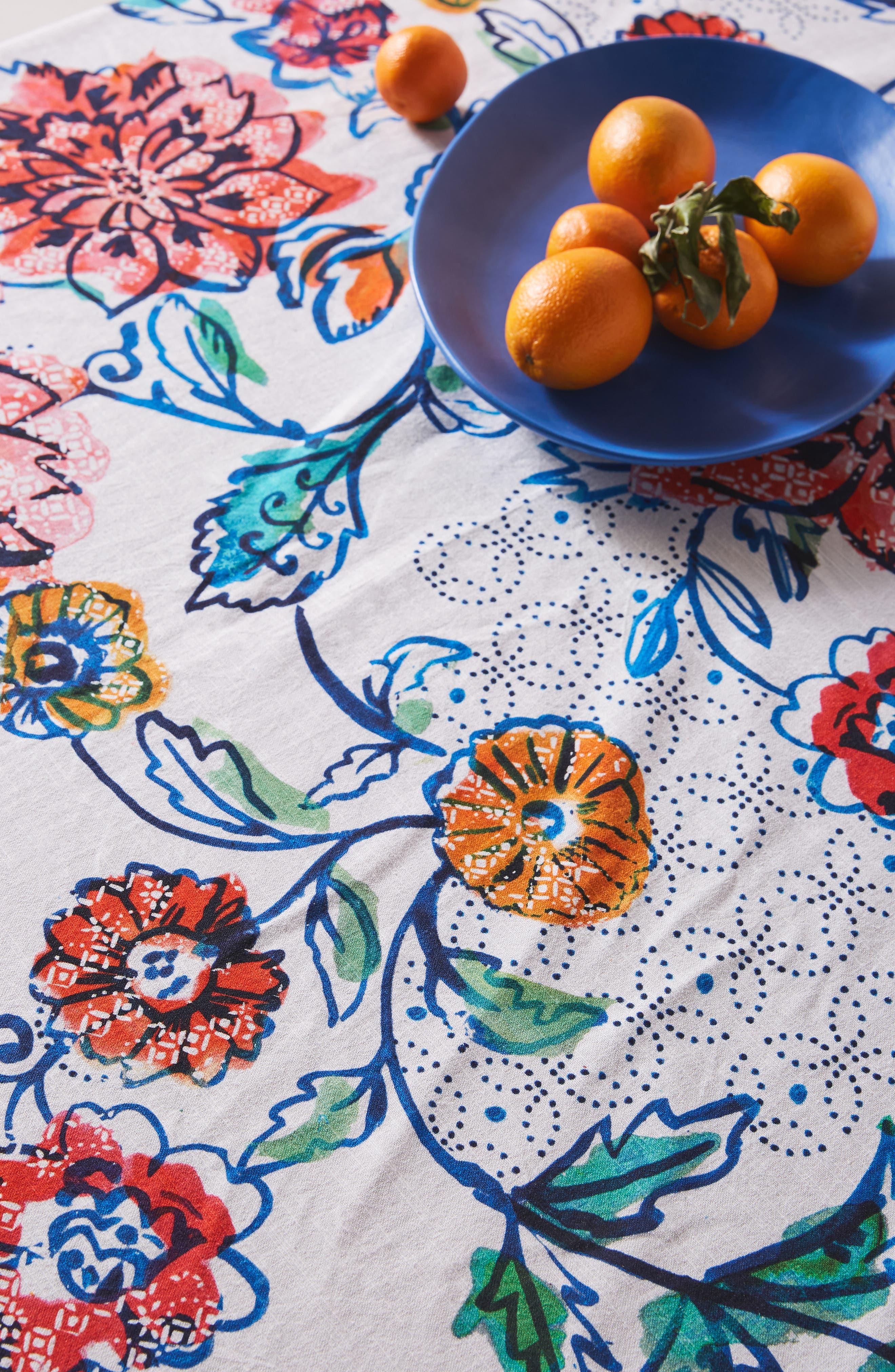 ANTHROPOLOGIE, Belinda Tablecloth, Alternate thumbnail 2, color, TURQ