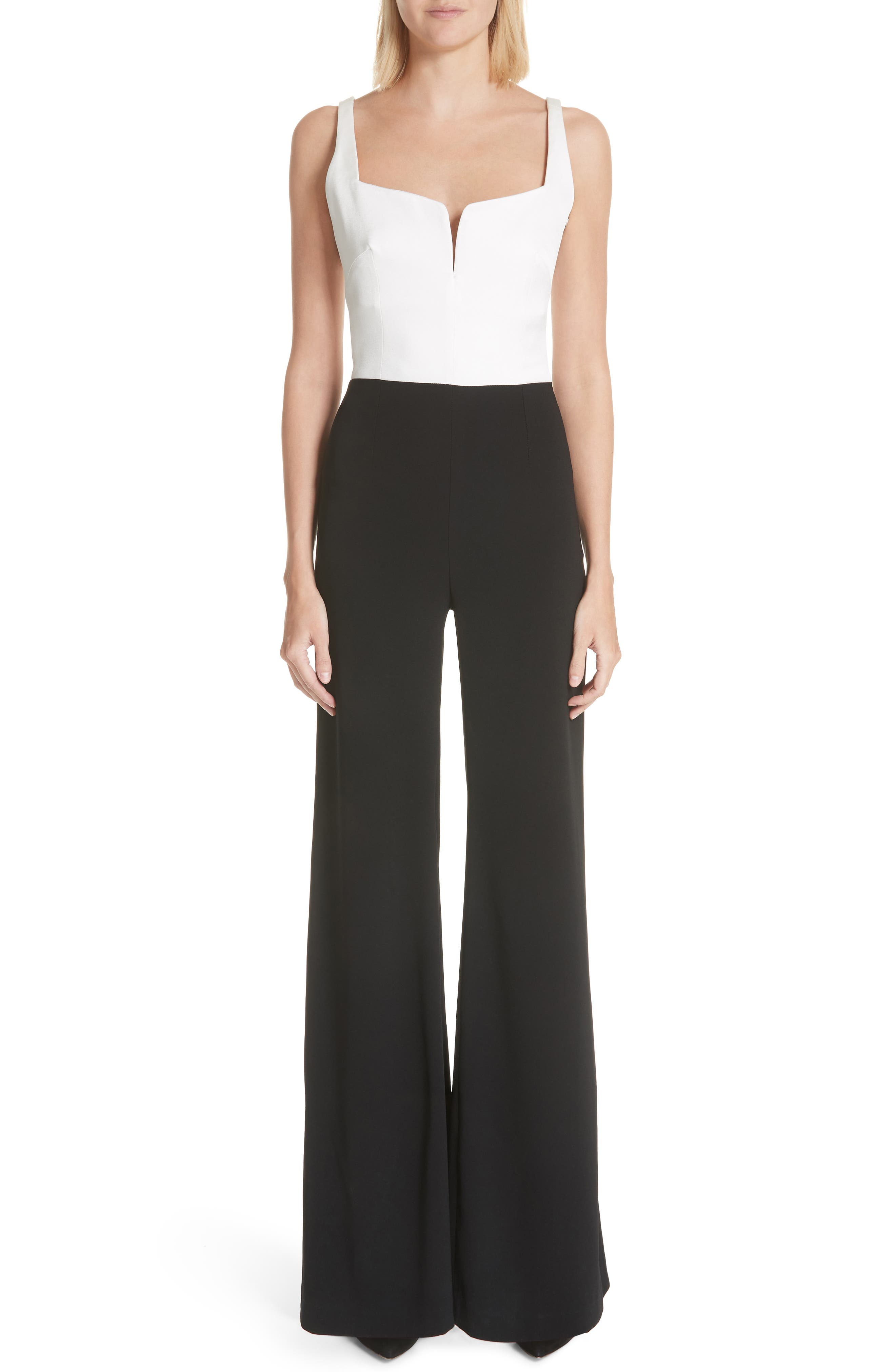 GALVAN, Eclipse Satin & Matte Crepe Jumpsuit, Main thumbnail 1, color, WHITE/ BLACK