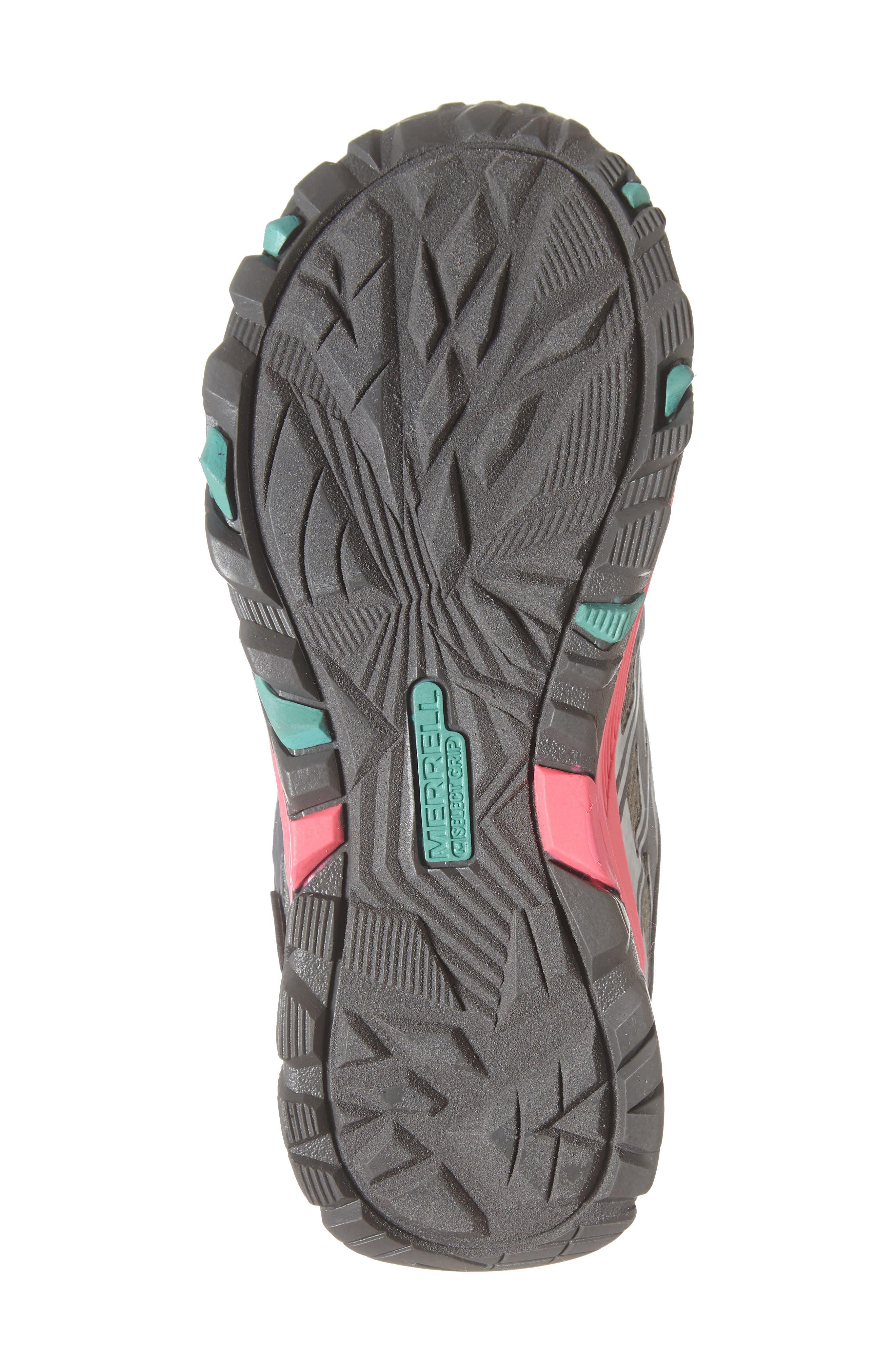 MERRELL, Moab FST Polar Low Waterproof Sneaker, Alternate thumbnail 6, color, GREY/ CORAL