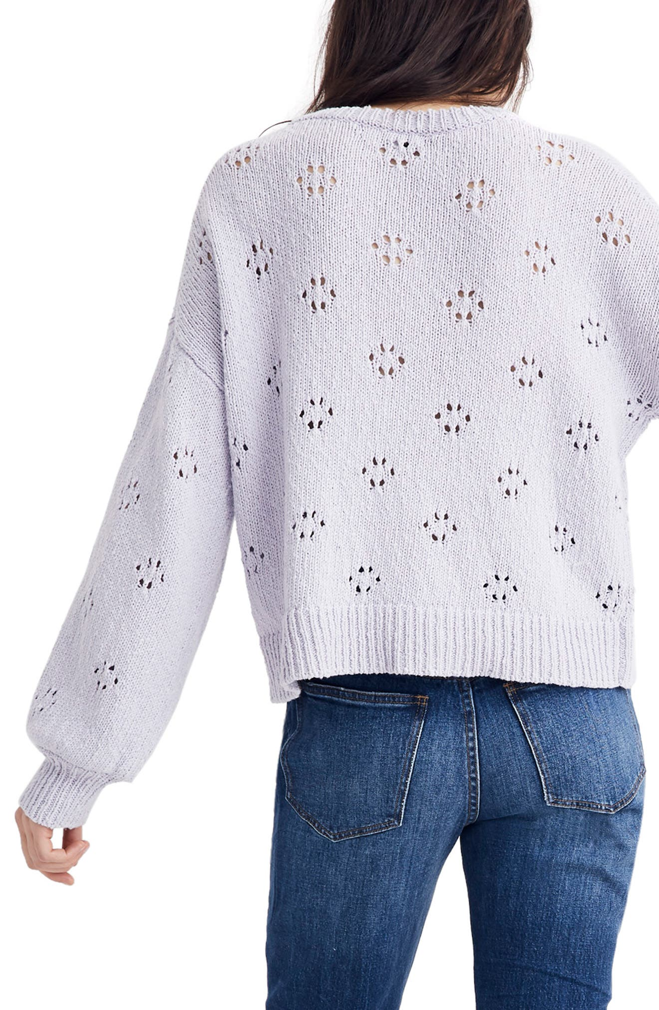 MADEWELL, Floral Pointelle Pullover Sweater, Alternate thumbnail 3, color, SUNDRENCHED LILAC