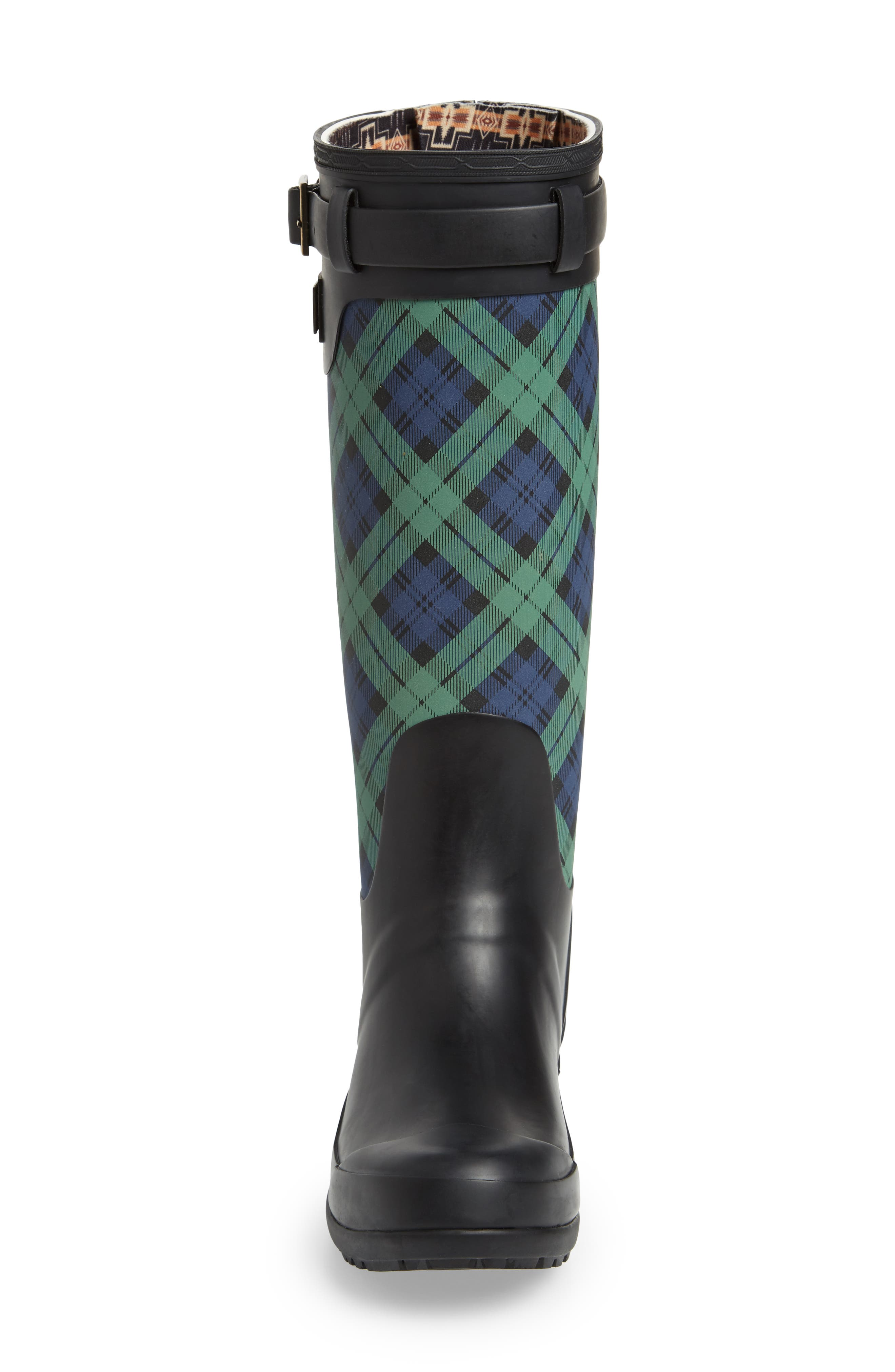 PENDLETON, Heritage Black Watch Tartan Tall Waterproof Boot, Alternate thumbnail 4, color, NAVY