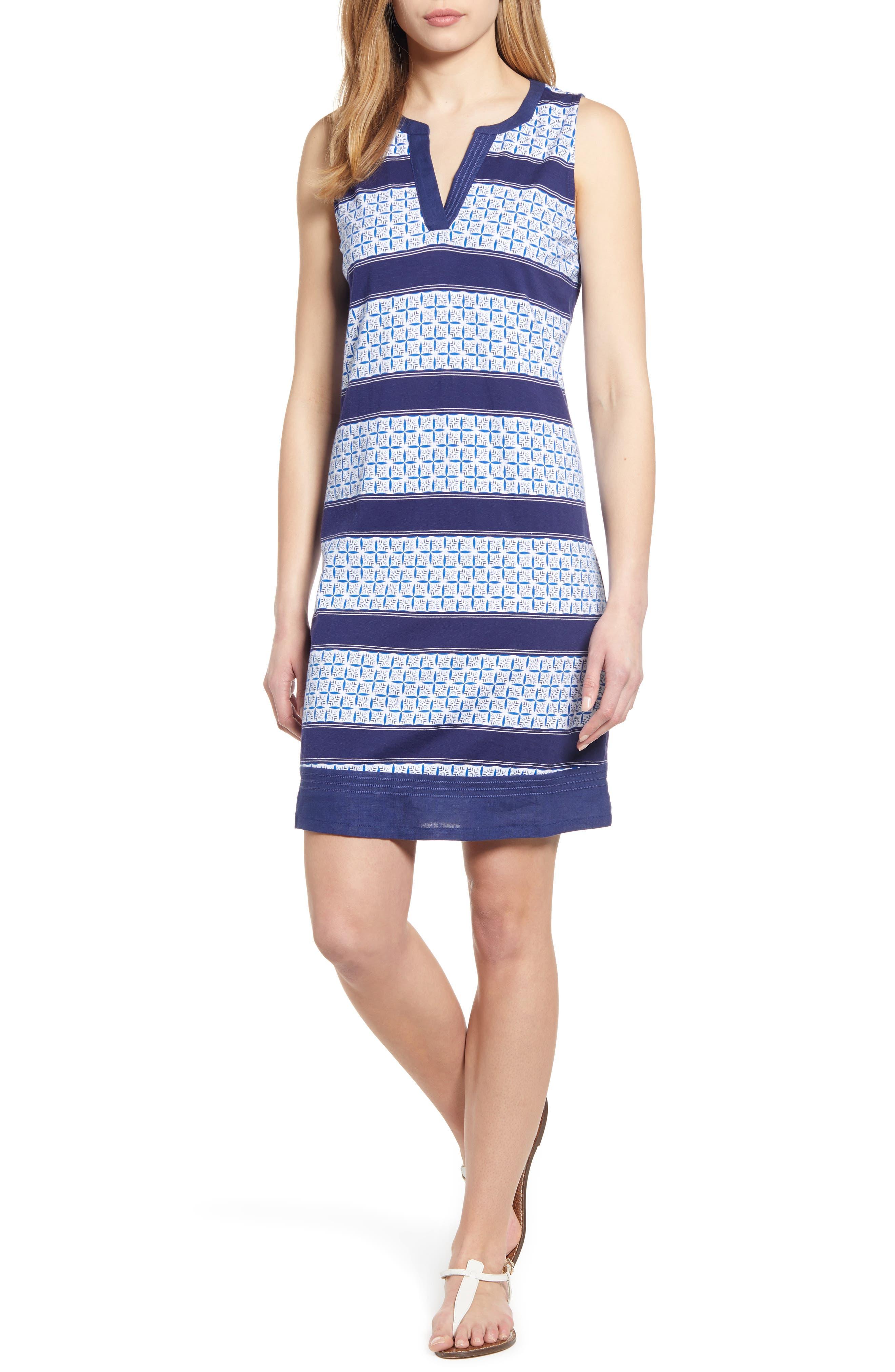Tommy Bahama Tuscan Tiles Split Neck Cotton Blend Shift Dress, Blue