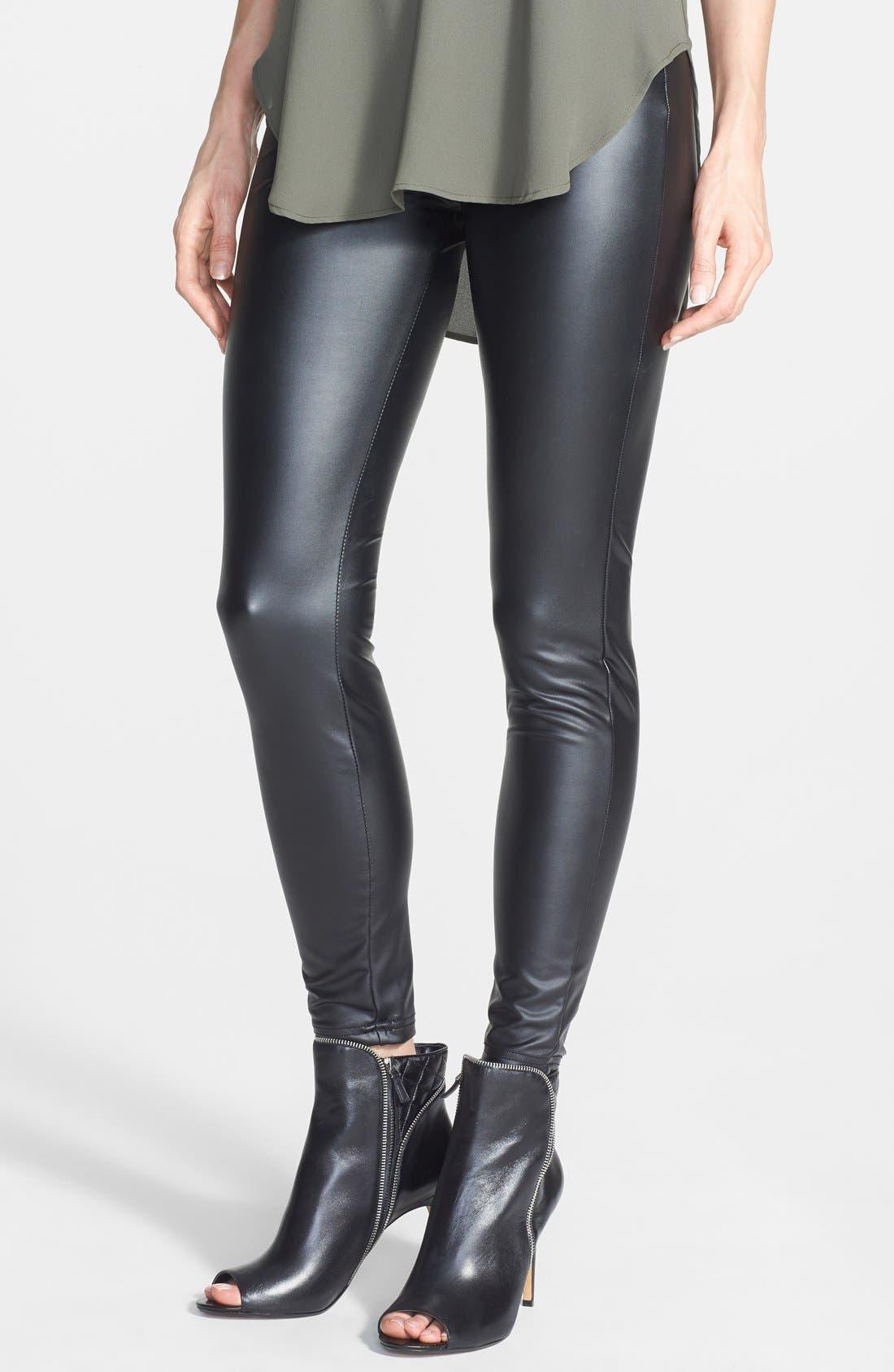 HUE 'Leatherette' Leggings, Main, color, 001