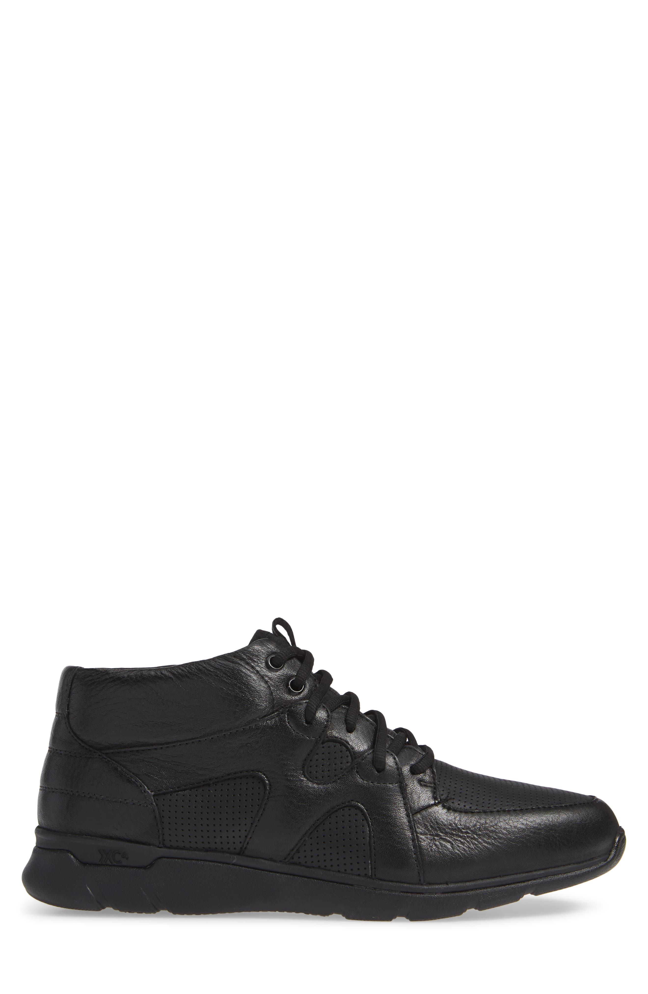 JOHNSTON & MURPHY, Prentiss Waterproof Sneaker, Alternate thumbnail 3, color, BLACK LEATHER