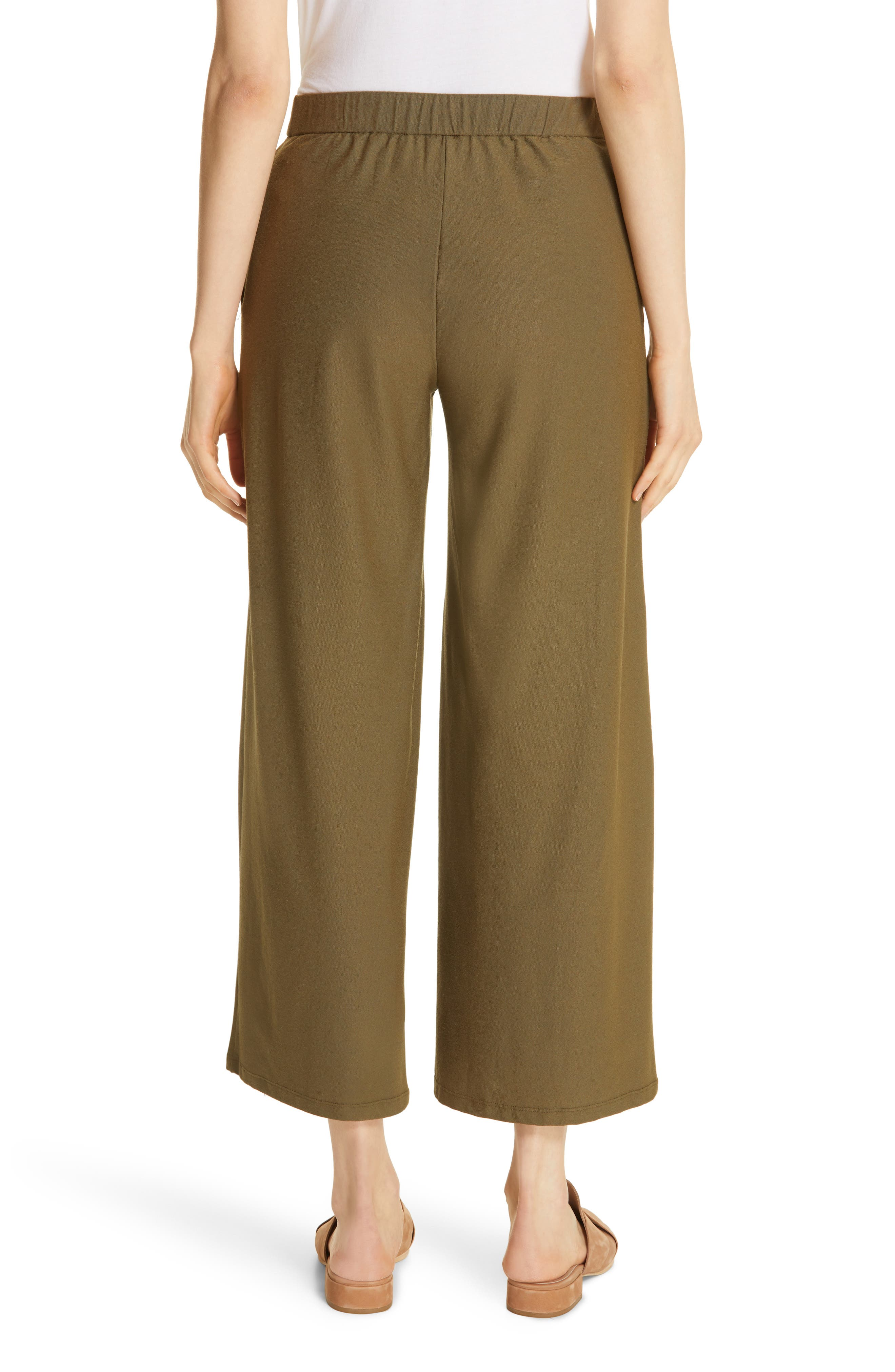 EILEEN FISHER, High Waist Ankle Pants, Alternate thumbnail 2, color, OLIVE