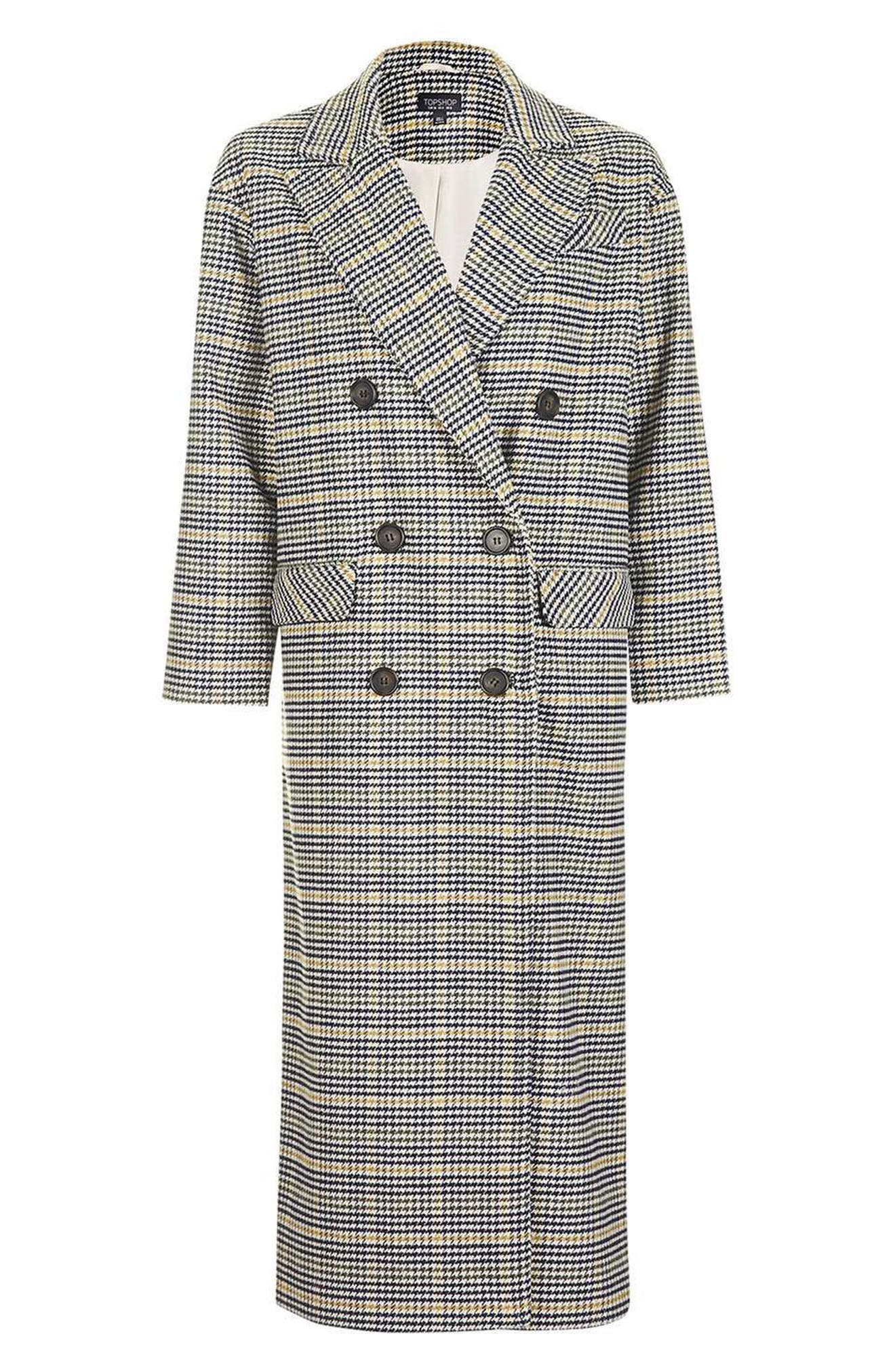 TOPSHOP, Heritage Check Coat, Alternate thumbnail 5, color, 001