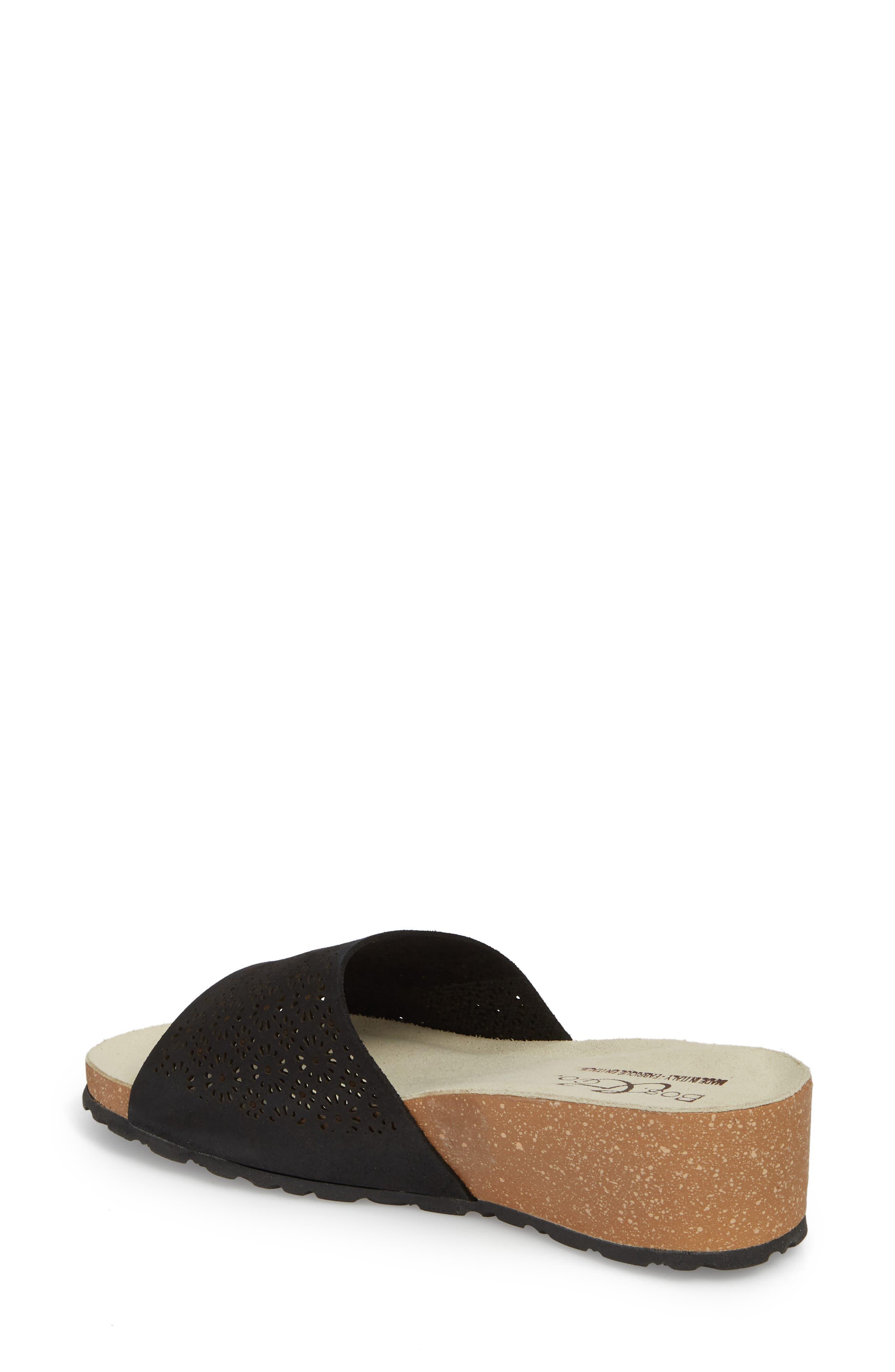 BOS. & CO., Loa Wedge Slide Sandal, Alternate thumbnail 2, color, BLACK SUEDE