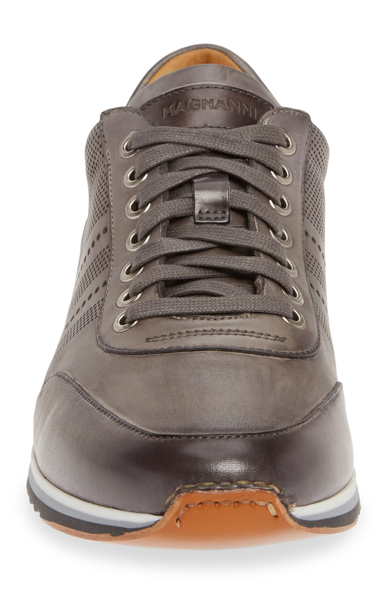 MAGNANNI, Merino Sneaker, Alternate thumbnail 4, color, GREY LEATHER