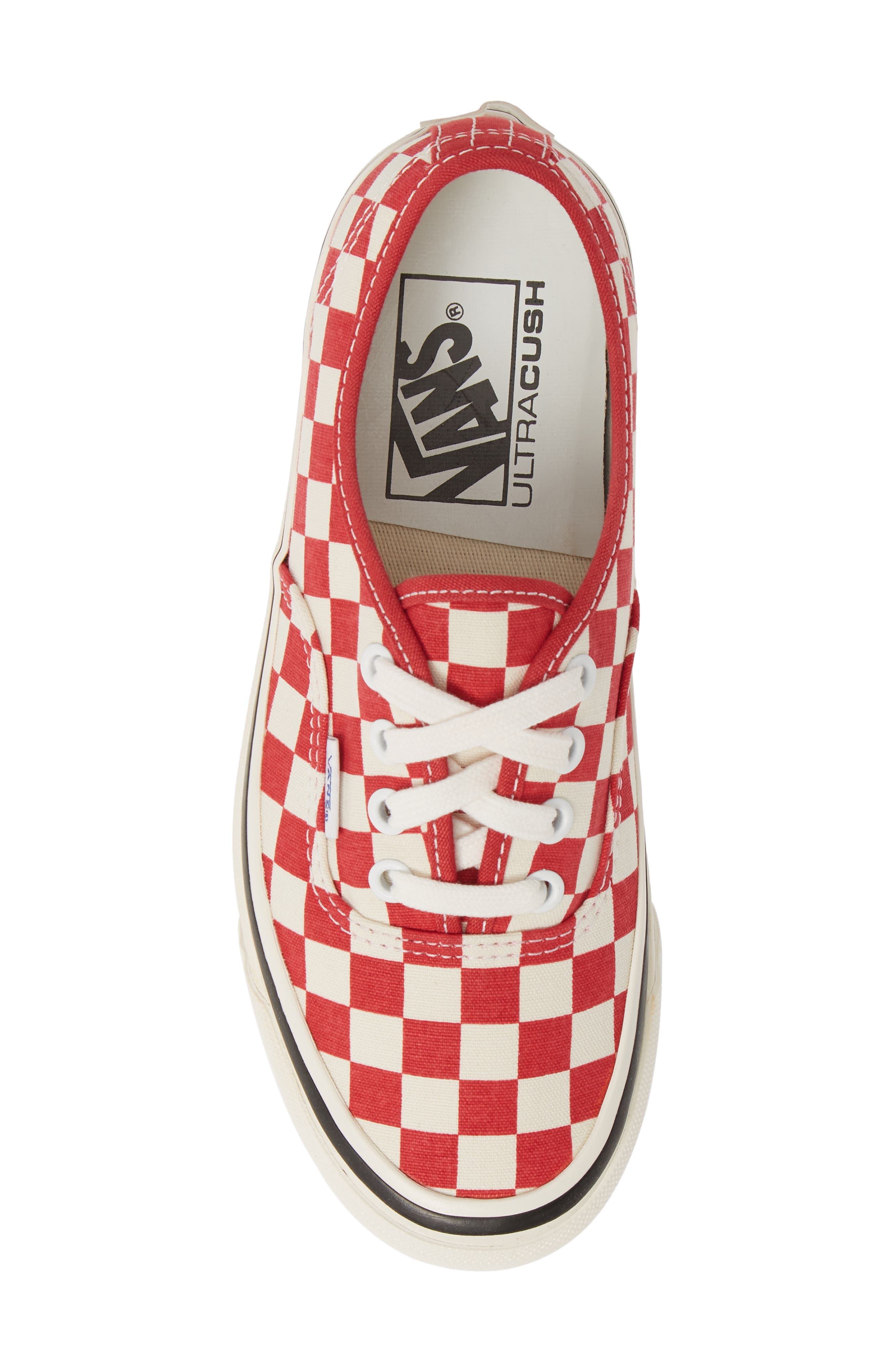 VANS, Authentic 44 DX Sneaker, Alternate thumbnail 5, color, RED/ CHECK