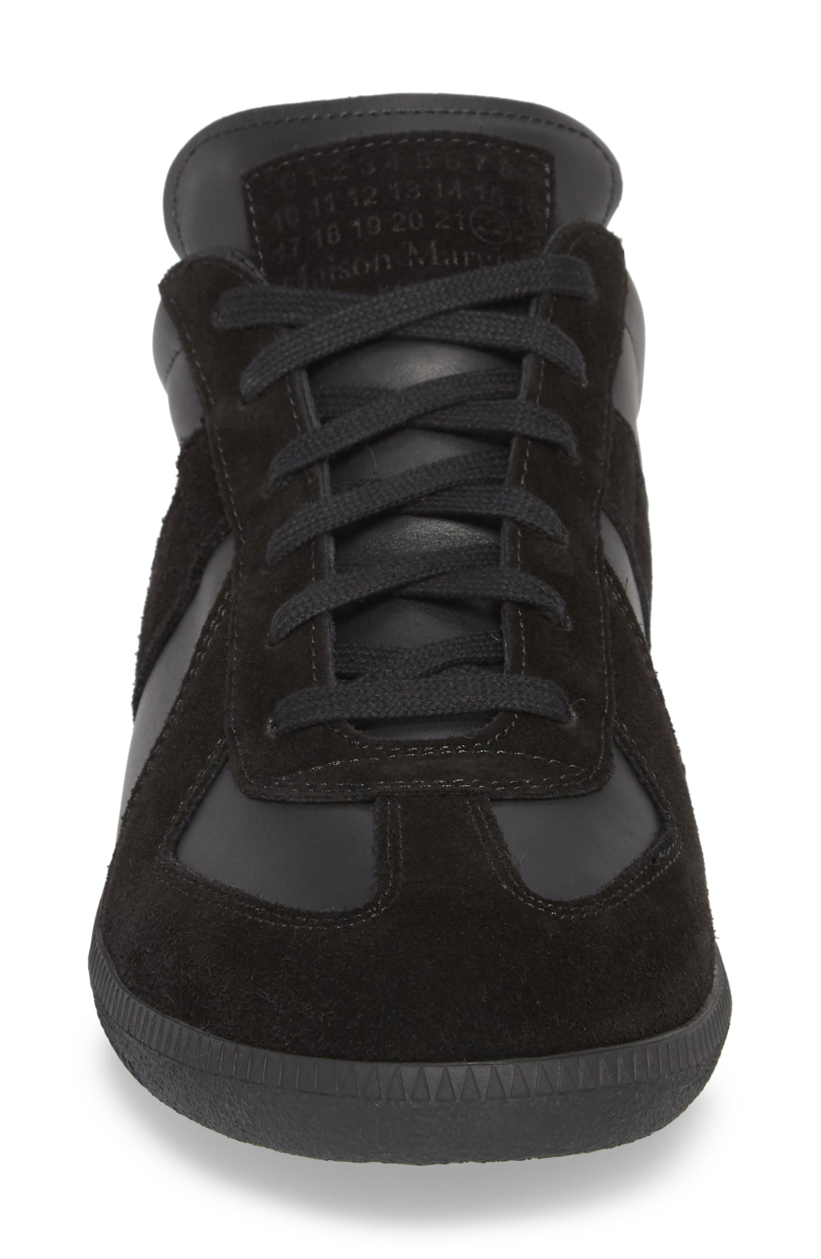 MM6 MAISON MARGIELA, Maison Margiela Replica Low Top Sneaker, Alternate thumbnail 4, color, BLACK