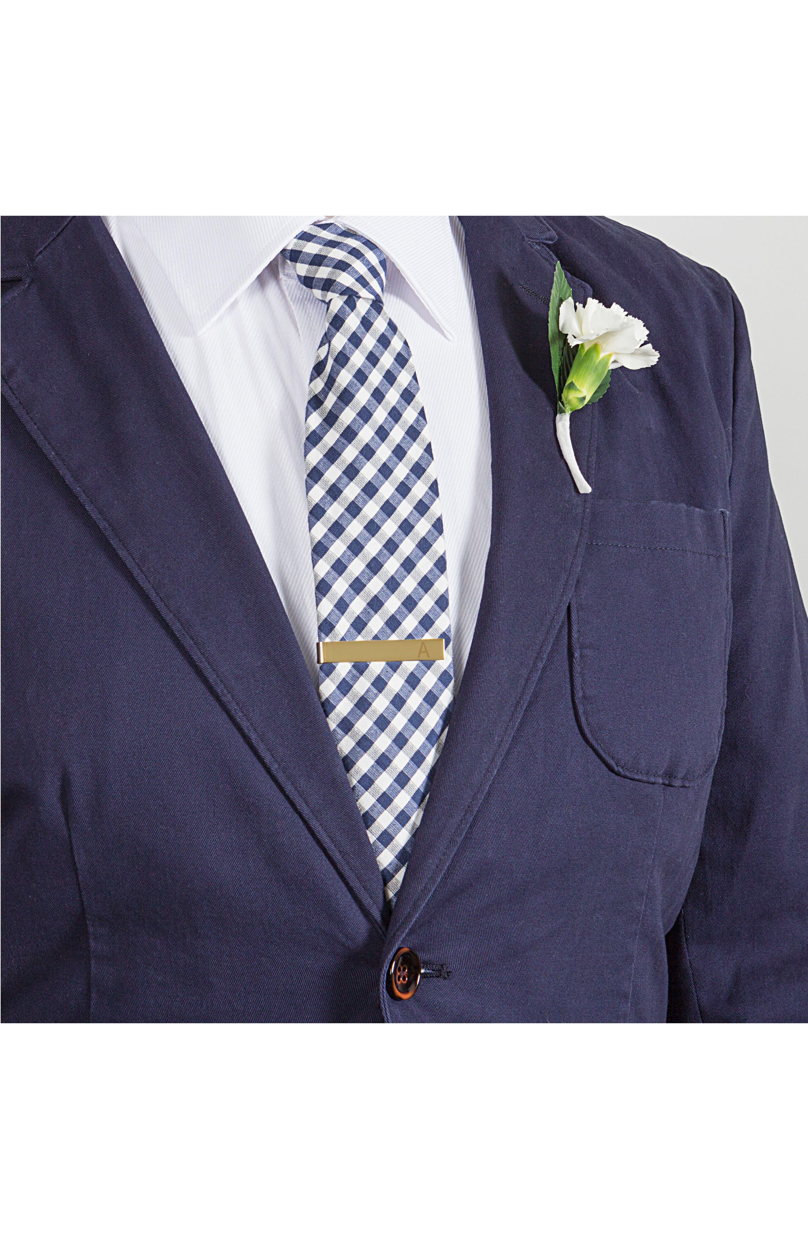 CATHY'S CONCEPTS, Monogram Tie Clip, Alternate thumbnail 2, color, GOLD