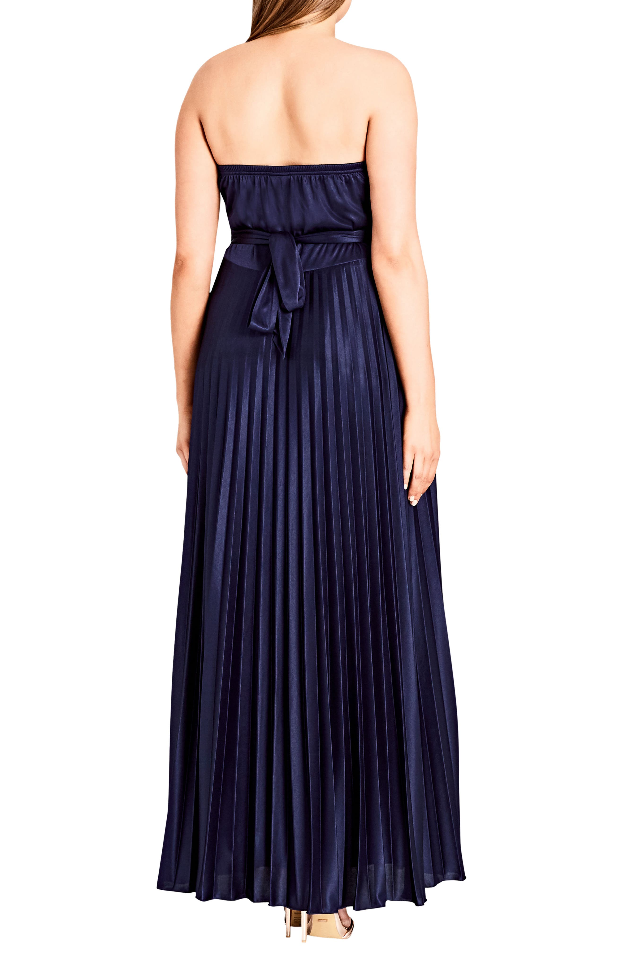 CITY CHIC, Helena Embellished Strapless Maxi Dress, Alternate thumbnail 2, color, NAVY