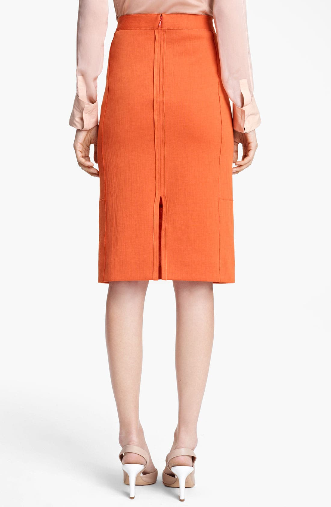 REED KRAKOFF, Seamed Jersey Skirt, Alternate thumbnail 3, color, 810