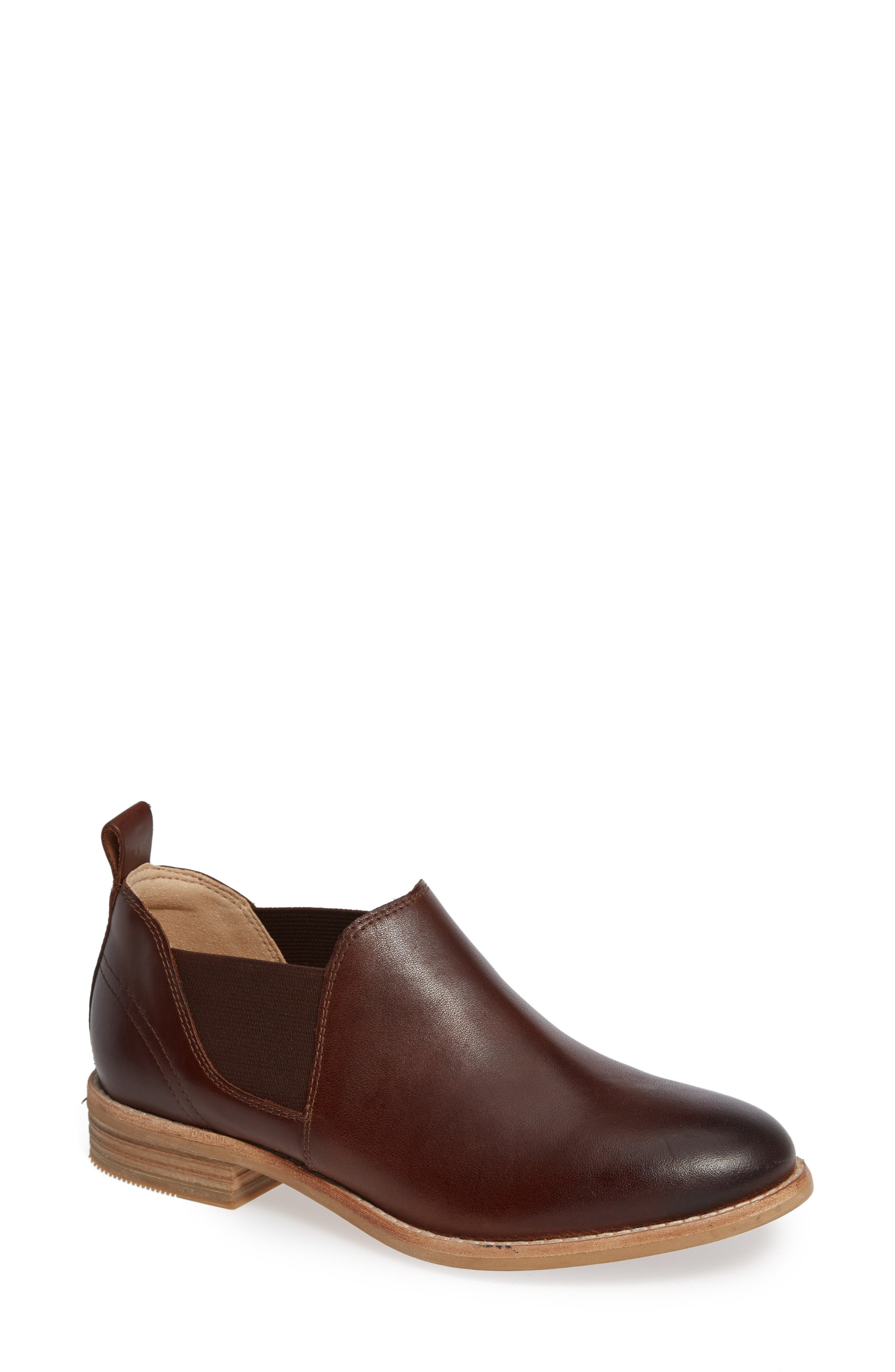 CLARKS<SUP>®</SUP> Edenvale Page Bootie, Main, color, DARK TAN LEATHER