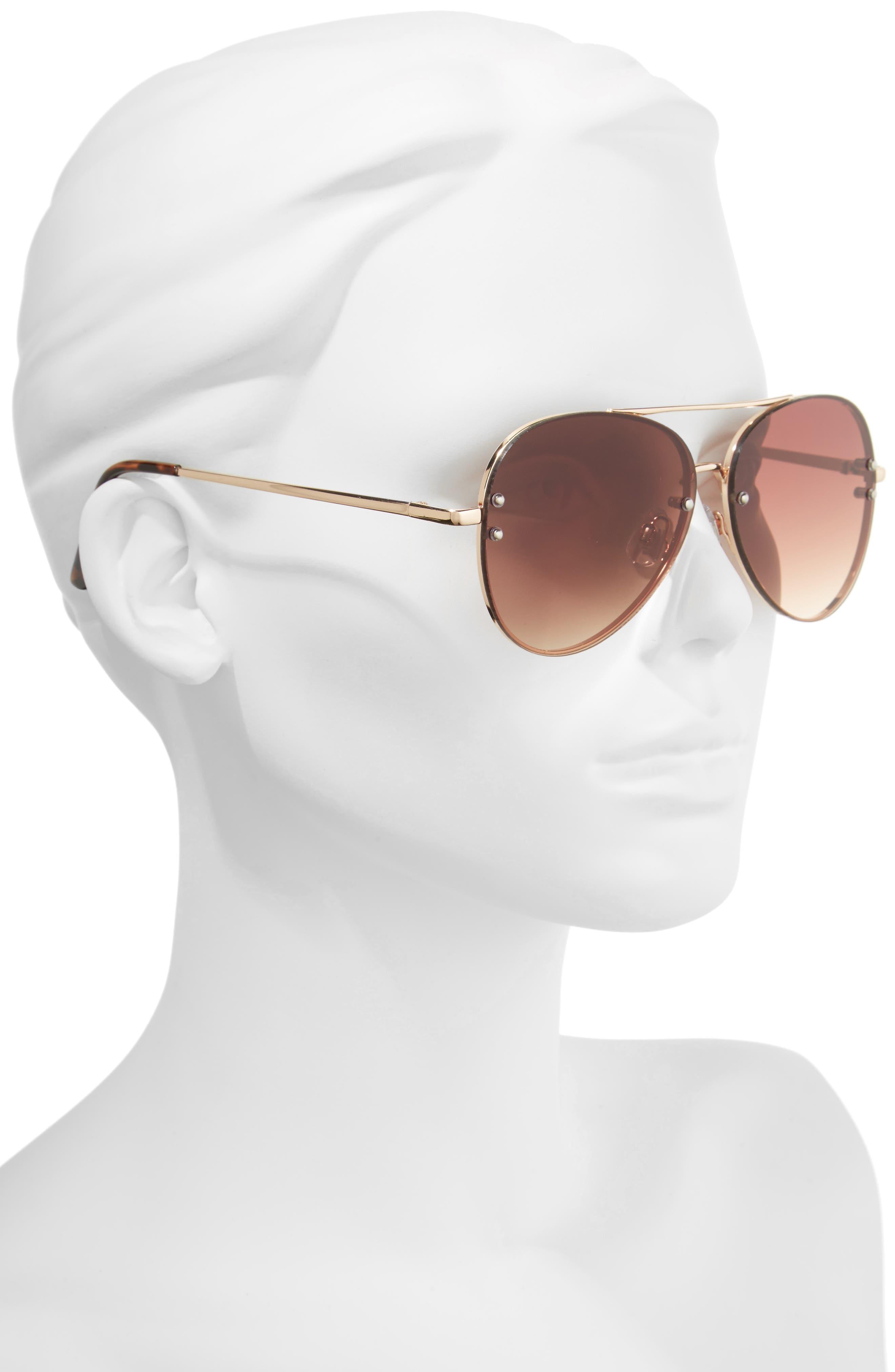 BP., 60mm Oversize Mirrored Aviator Sunglasses, Alternate thumbnail 2, color, GOLD/ BROWN