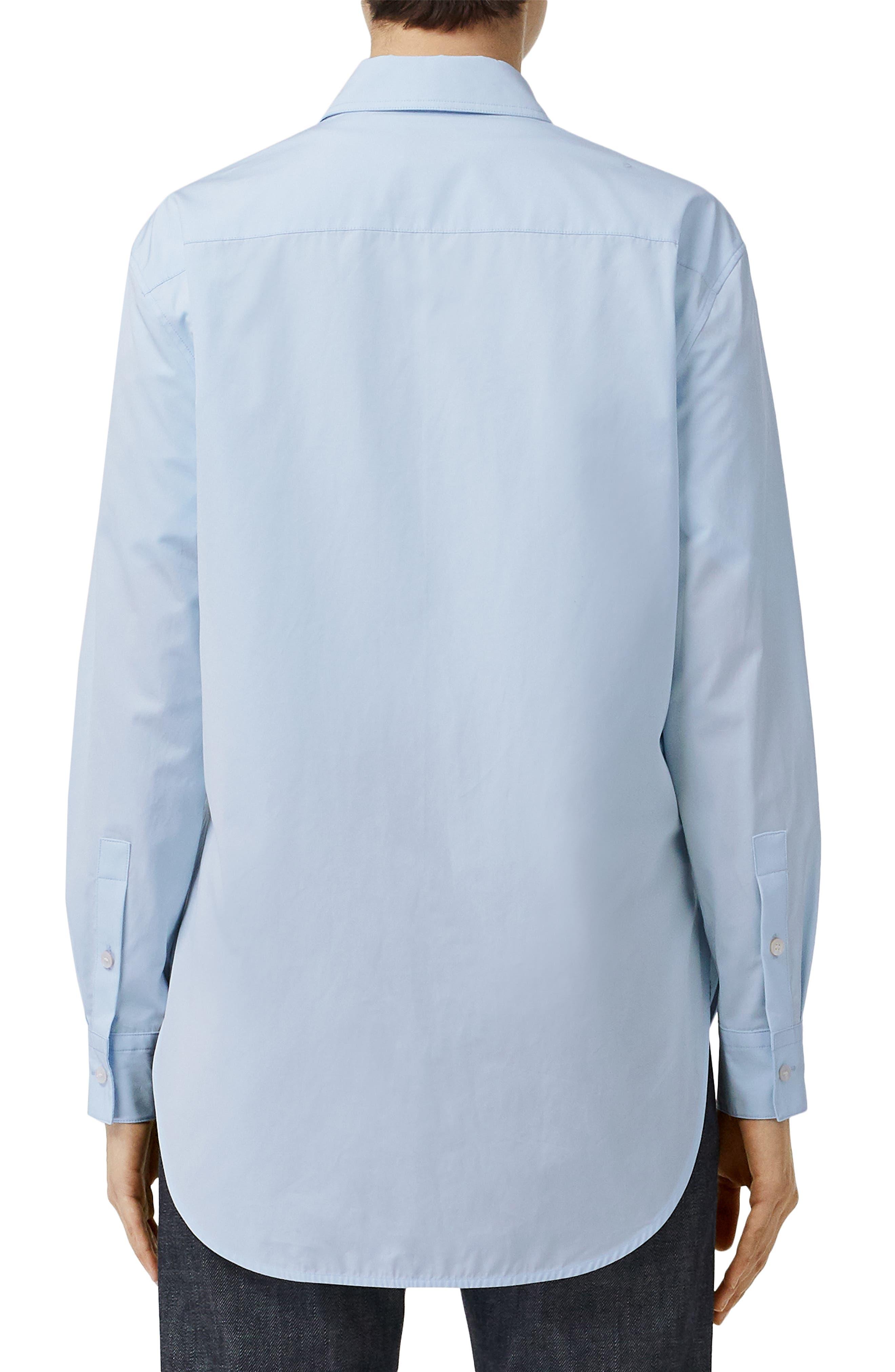 BURBERRY, Monogram Regular Fit Cotton Shirt, Alternate thumbnail 2, color, PALE BLUE