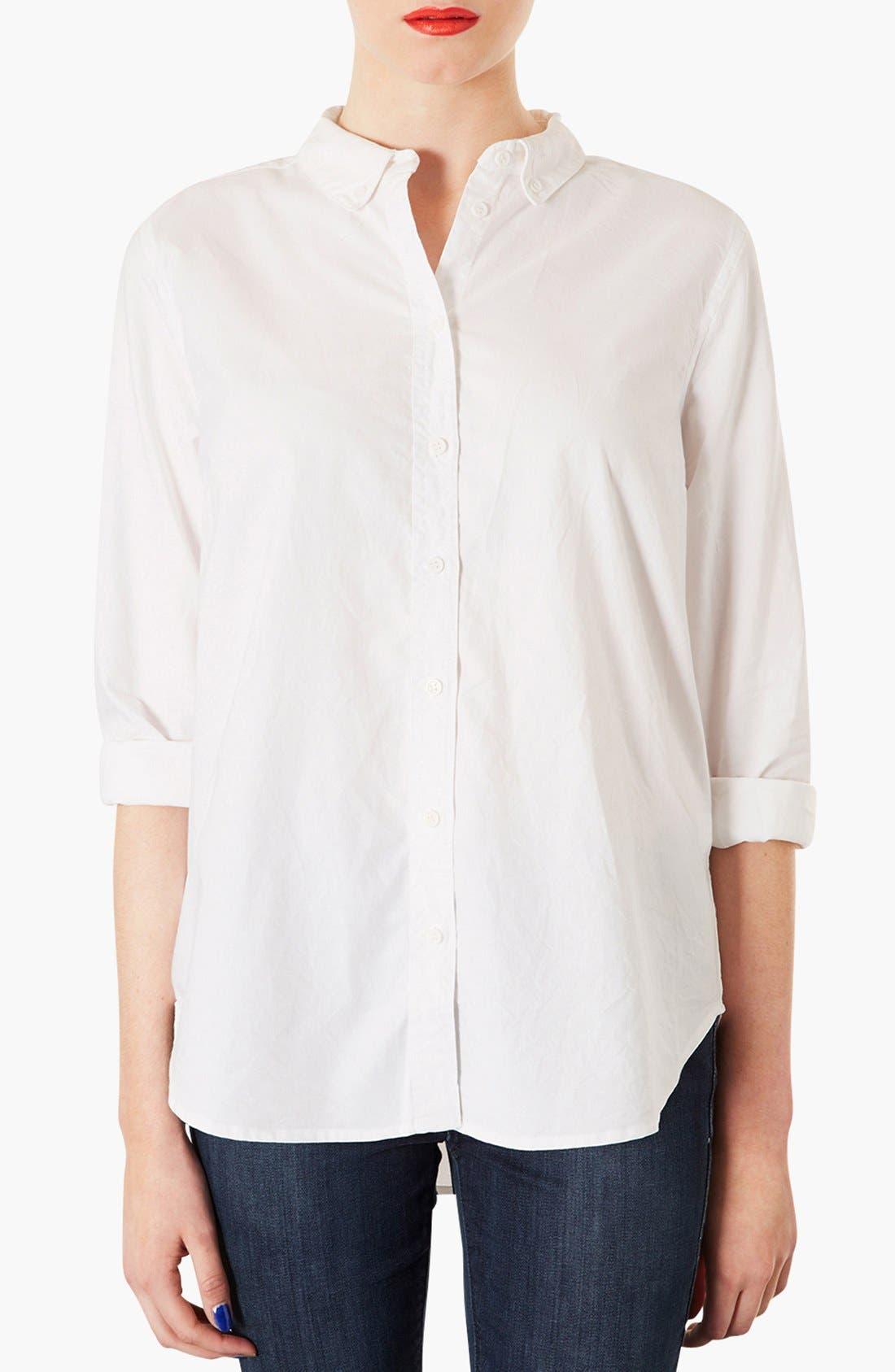 TOPSHOP, Woven Oxford Shirt, Main thumbnail 1, color, 100