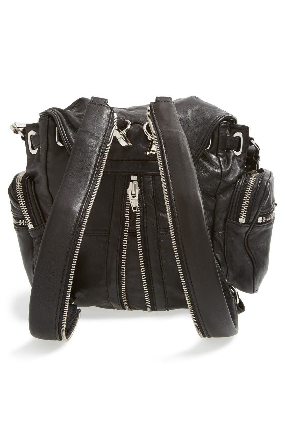 ALEXANDER WANG, 'Mini Marti' Leather Backpack, Alternate thumbnail 4, color, BLACK SLVR HRDR