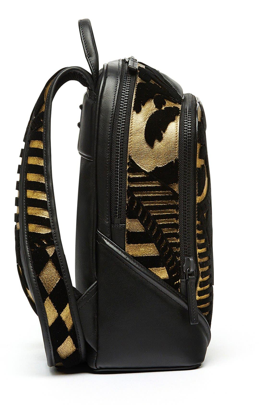 MCM, 'Duke Tapisserie' Goat Leather Backpack, Alternate thumbnail 5, color, 710
