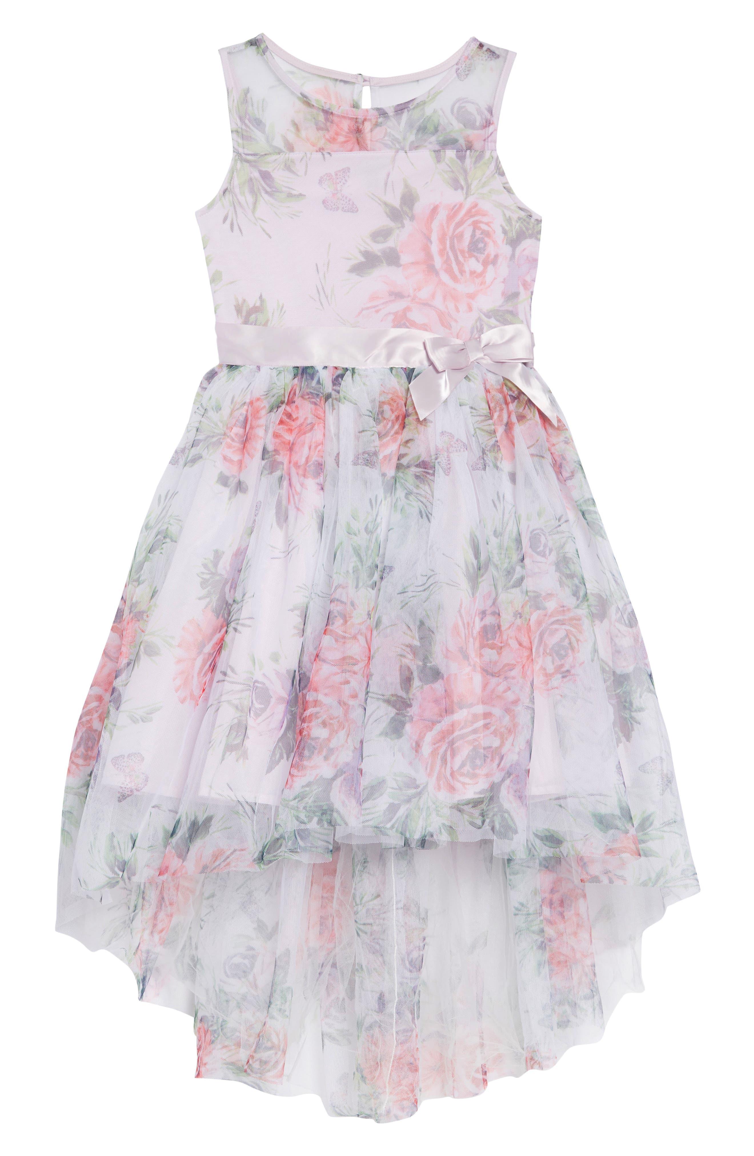 ZUNIE, Floral Print Dress, Main thumbnail 1, color, LAVENDER FLORAL