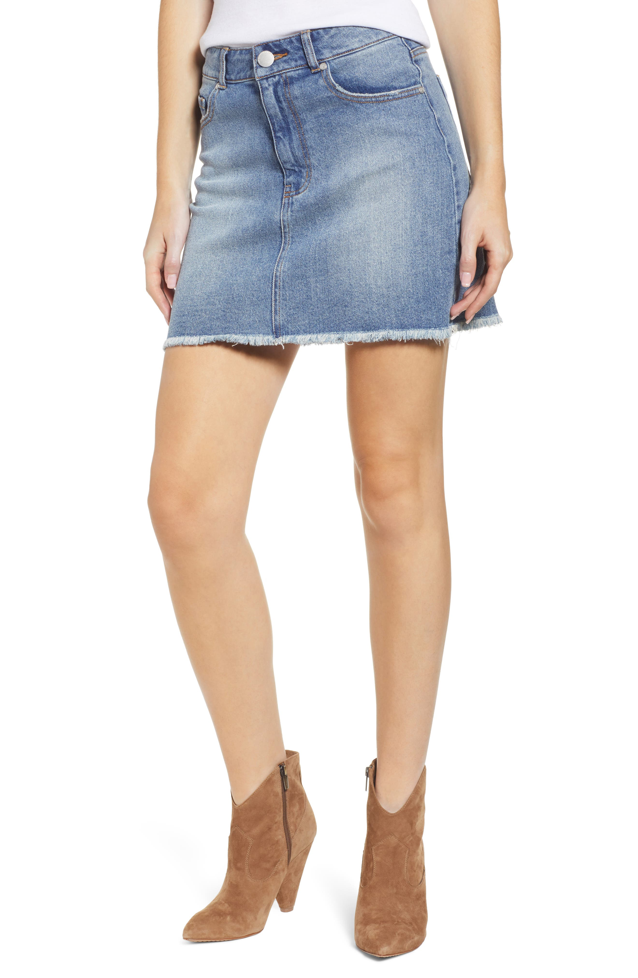 PROSPERITY DENIM, Raw Hem Denim Miniskirt, Main thumbnail 1, color, LIGHT WASH
