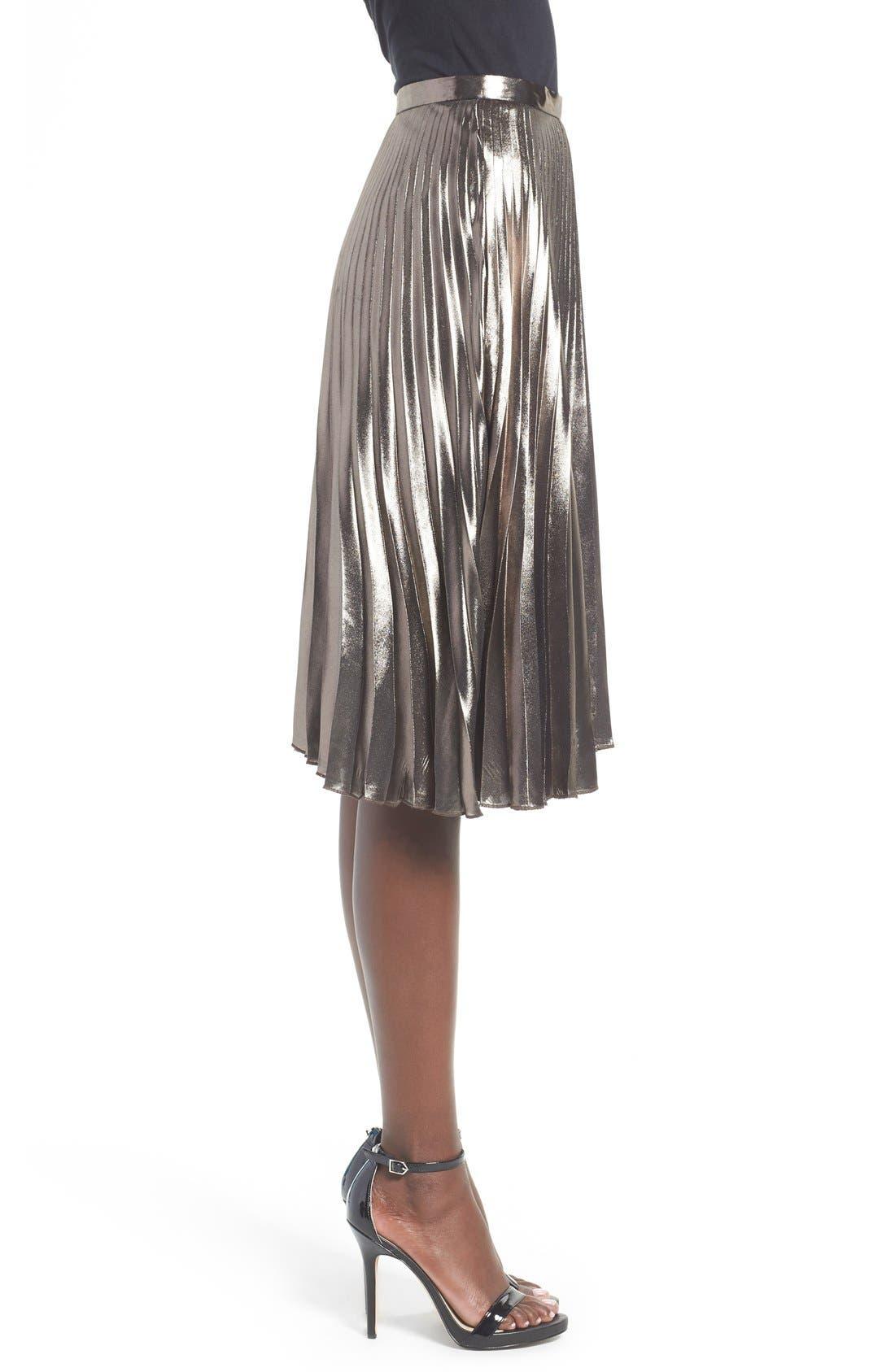 ASTR THE LABEL, ASTR Celeste Pleated Skirt, Alternate thumbnail 4, color, 224