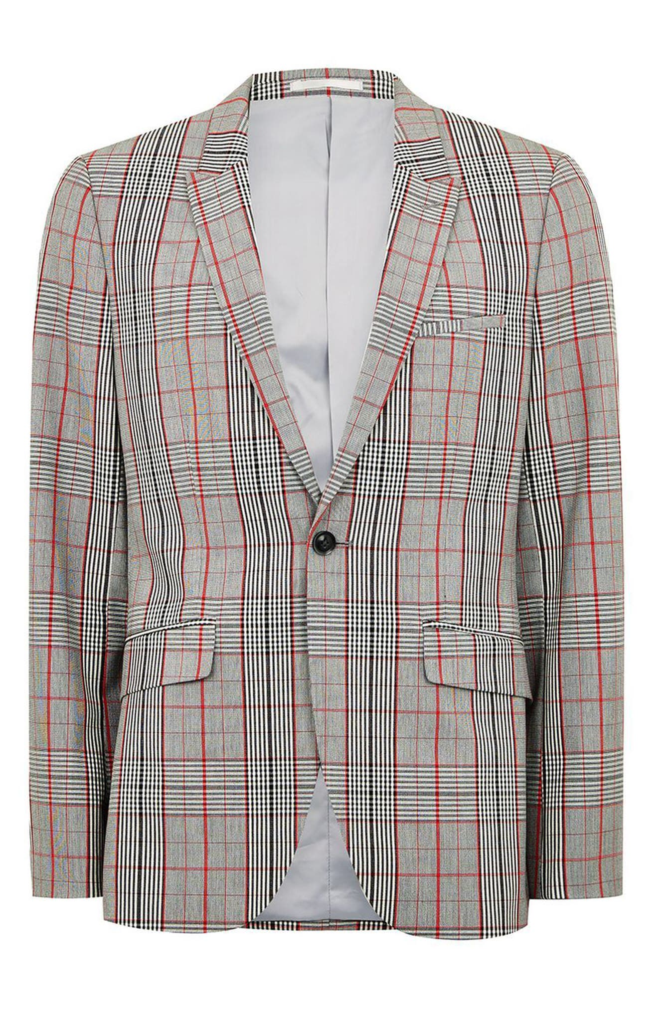 TOPMAN, Muscle Fit Check Suit Jacket, Alternate thumbnail 3, color, 020