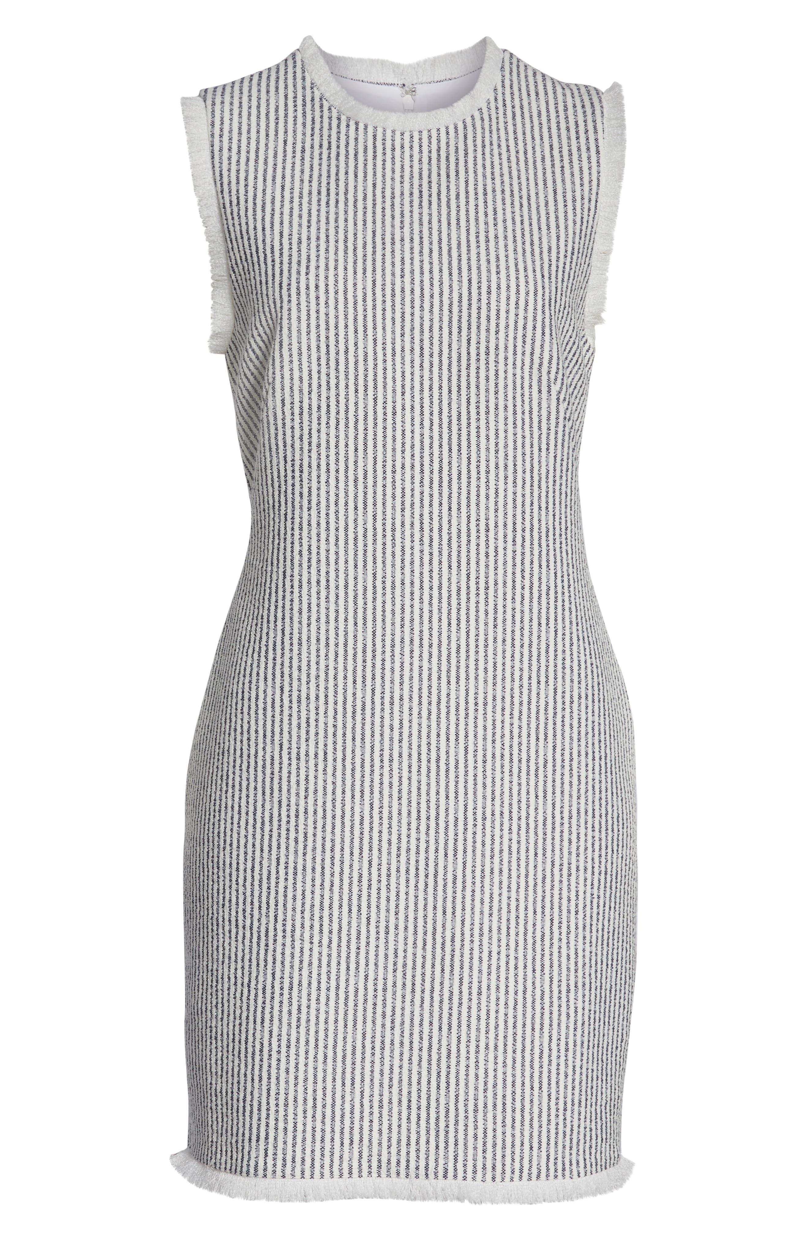 CHARLES HENRY, Fringe Trim Stripe Shift Dress, Alternate thumbnail 7, color, NAVY WHITE STRIPE